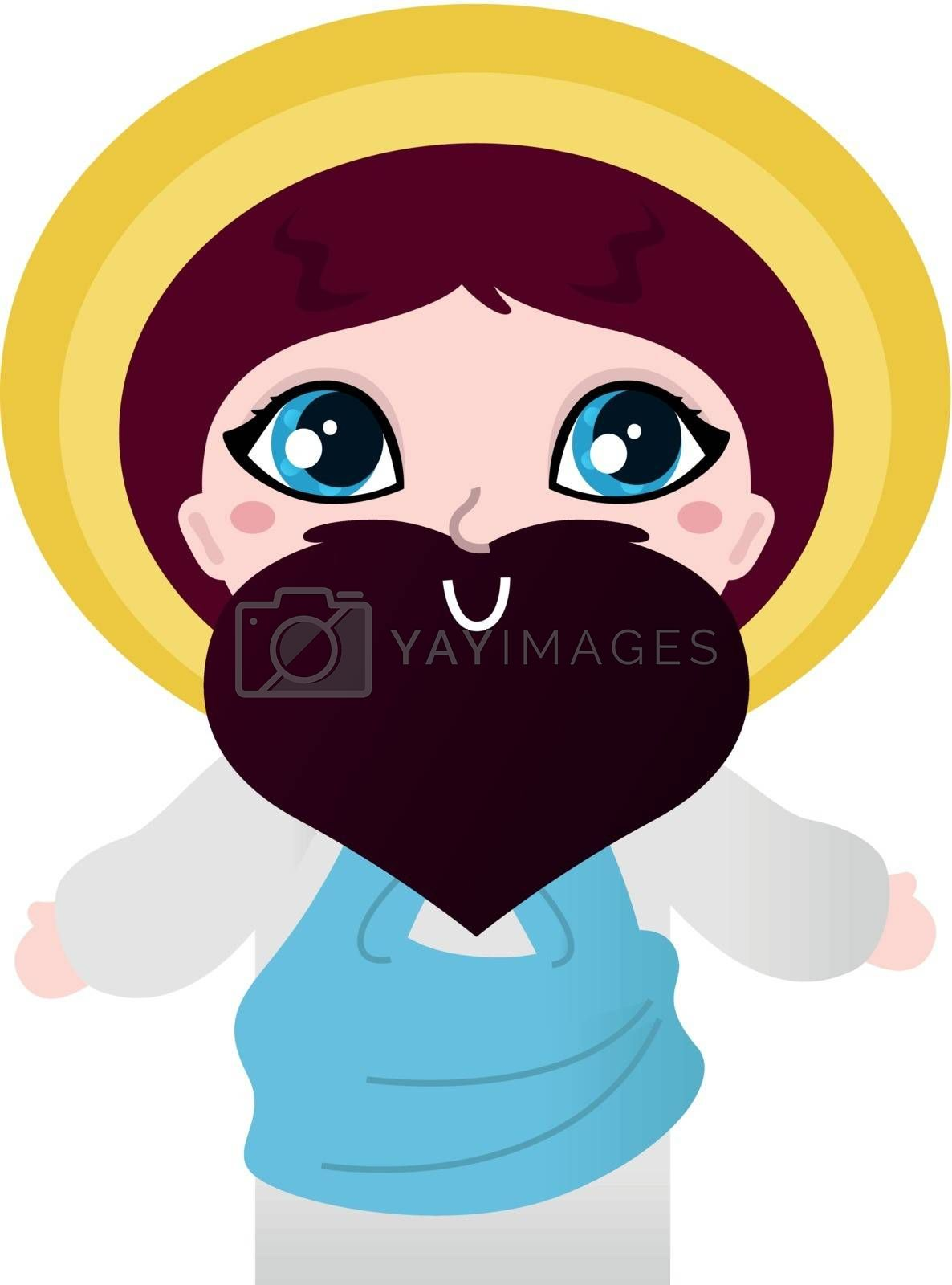 Happy Christian - Jesus. Vector cartoon Illustration