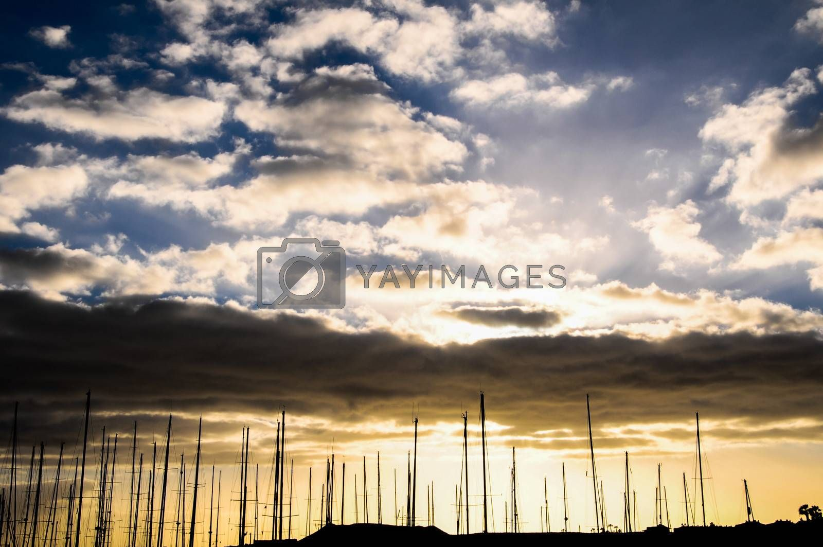 Silhouette Masts of Sail Yacht in Mmarine