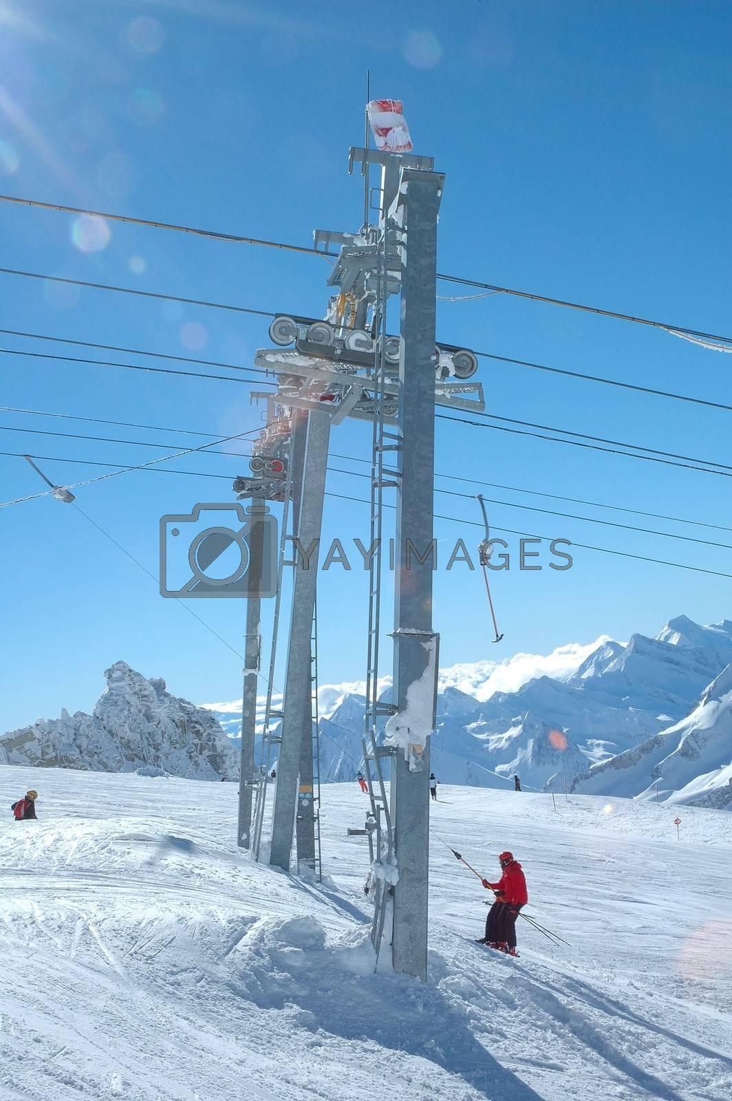Drag lift on Hintertux glacier nearby Zillertal valley in Austria