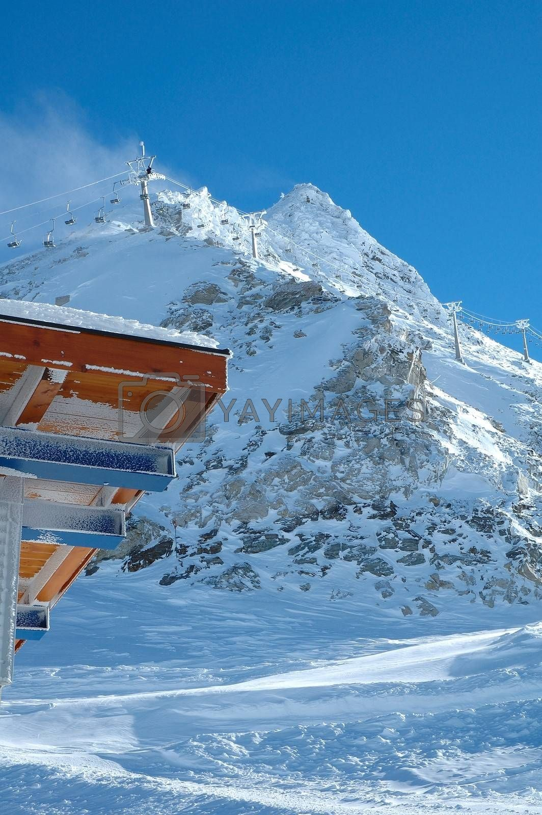 Peak roof and ski lift nearby Hintertux in Zillertal valley in Austria