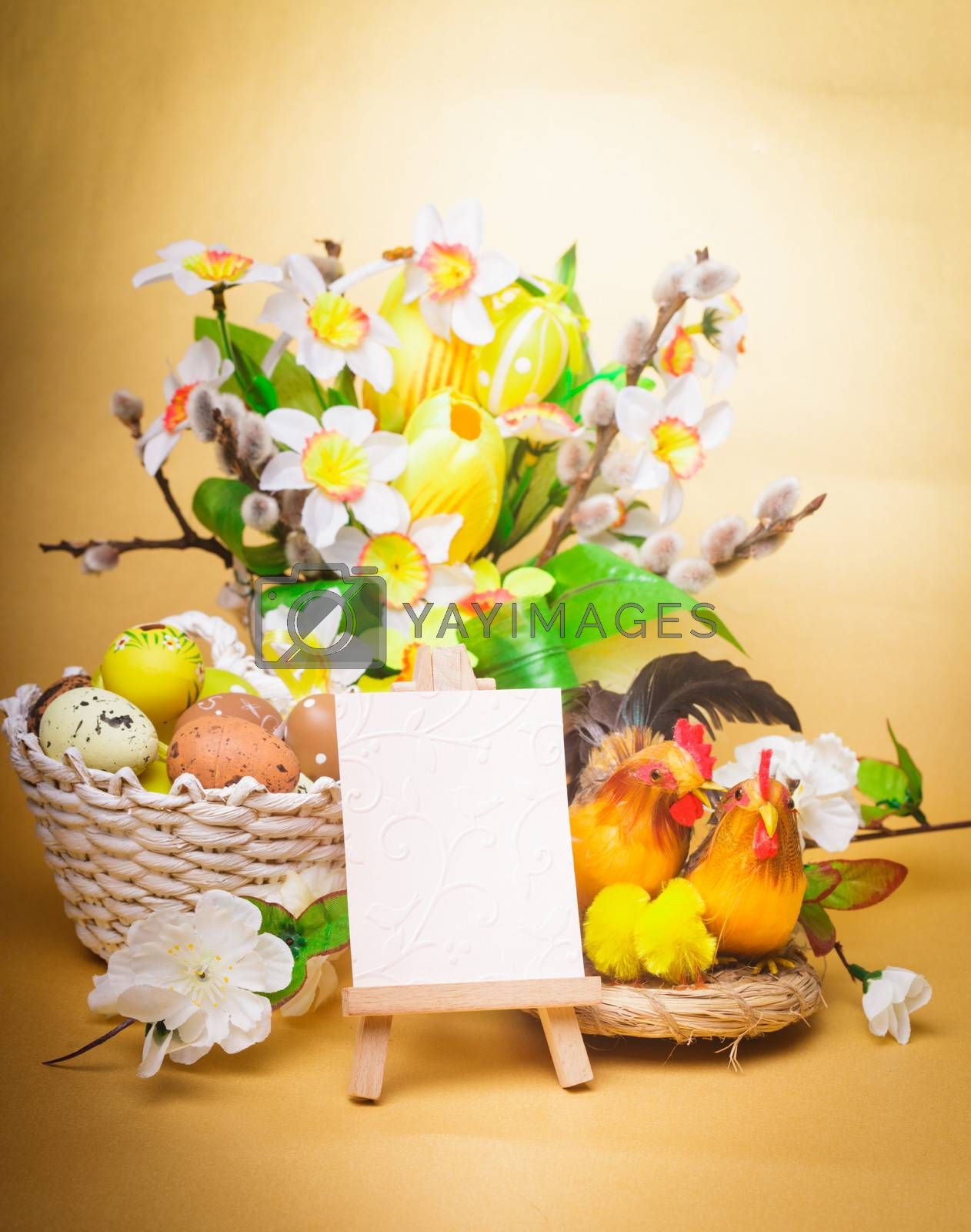 Easter greetings with eggs, flowers and chiken