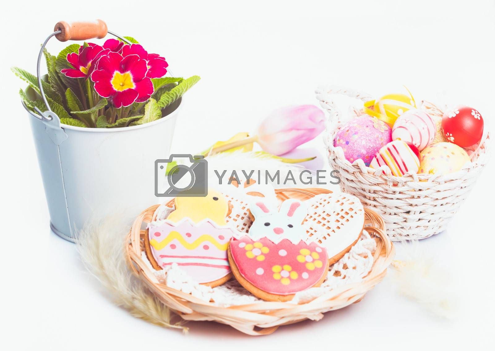 Easter cookies and decorative eggs. Easter decor
