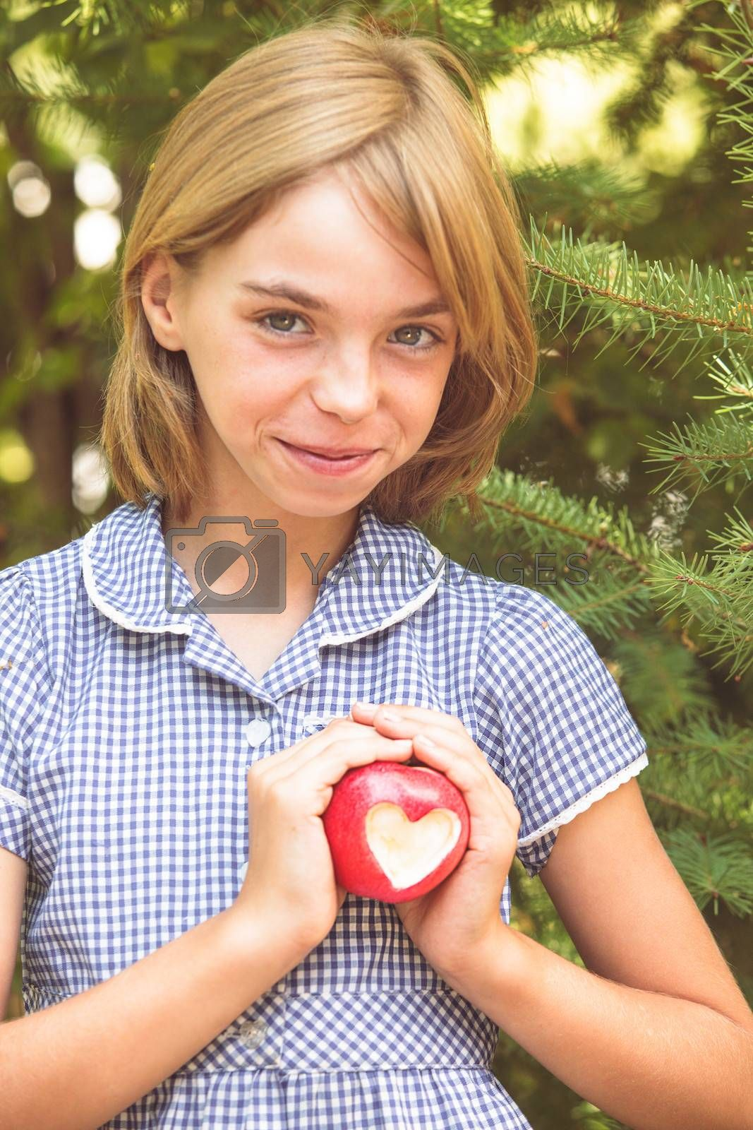 Red apple with heart shape - present of love