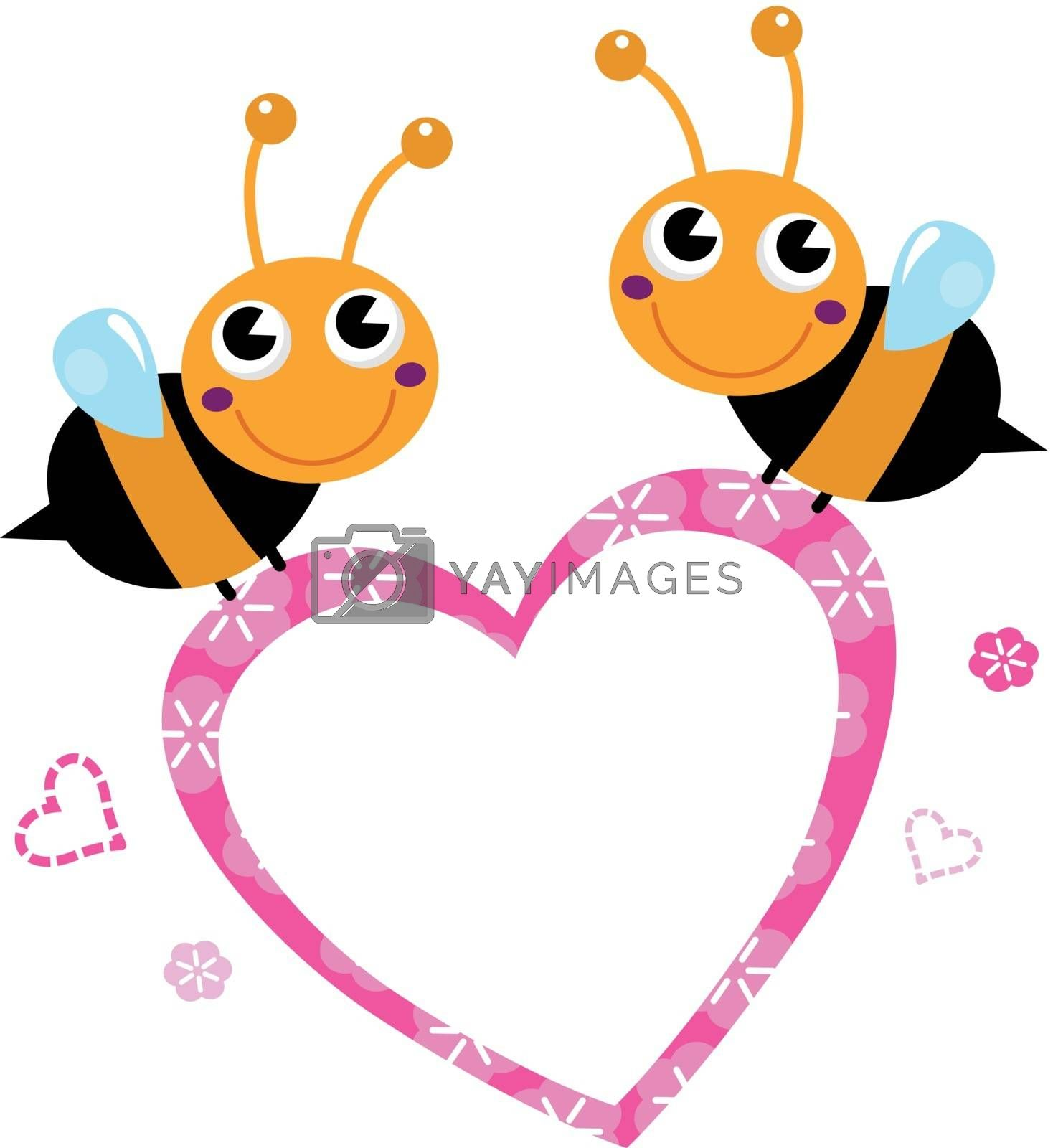 Adorable love Bees with Heart. Vector Illustration
