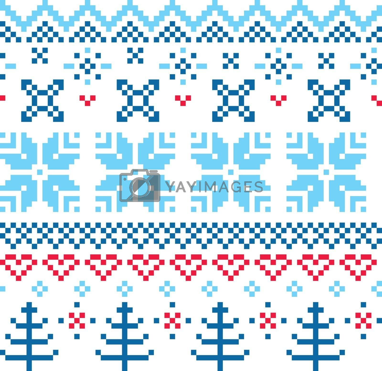Norway pattern - blue and red. Vector Illustration