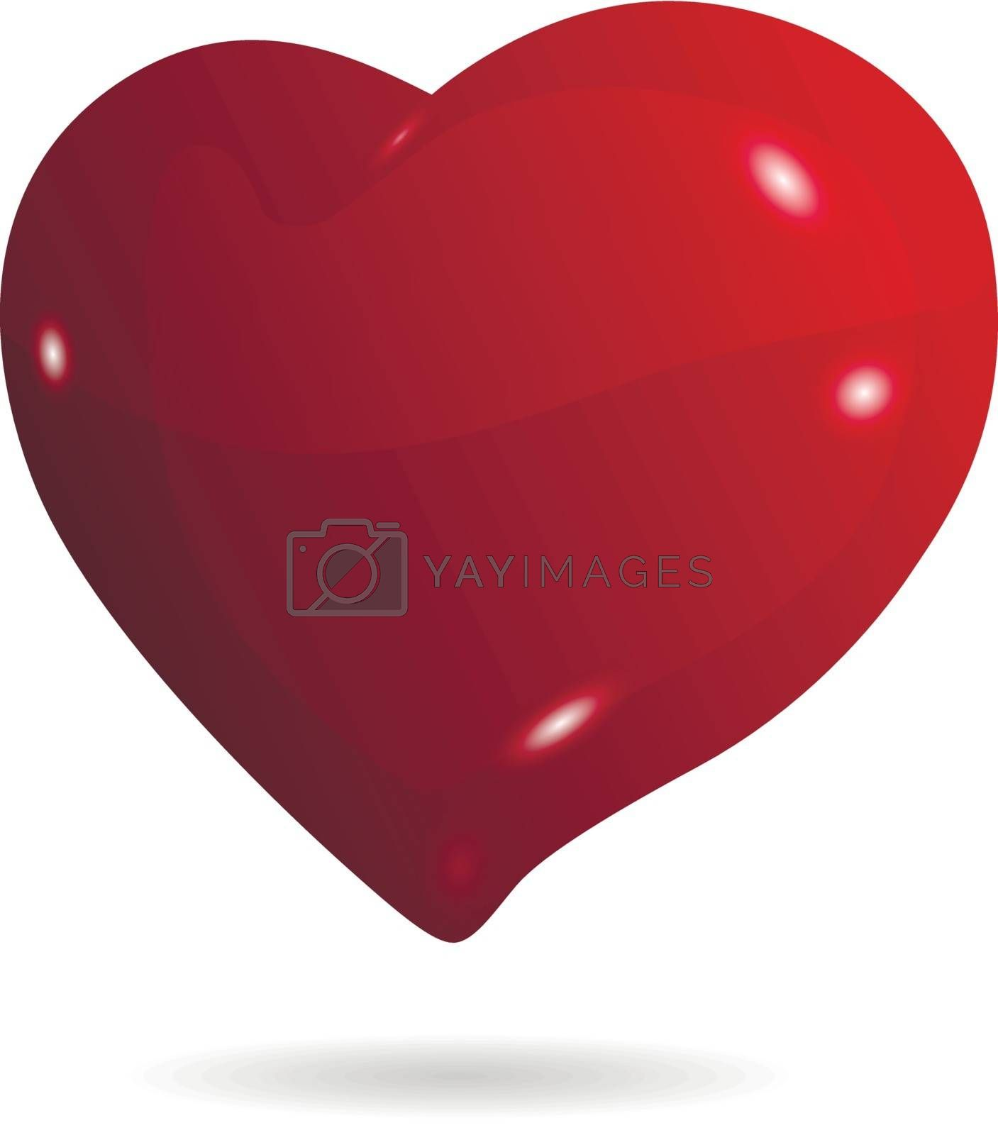 illustration symbolic red heart on a white background