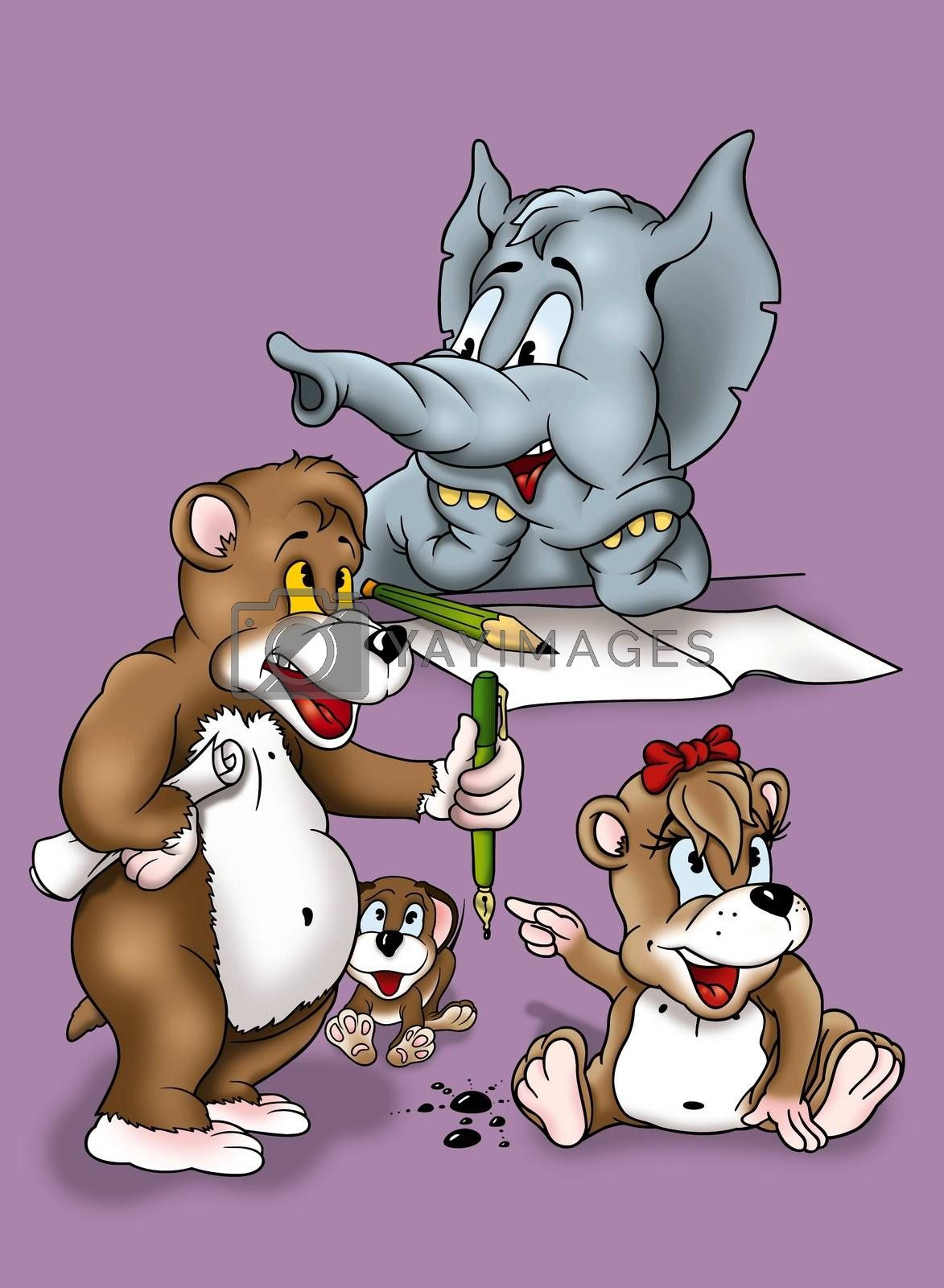 Writing Animals - Cartoon Background Illustration, Bitmap