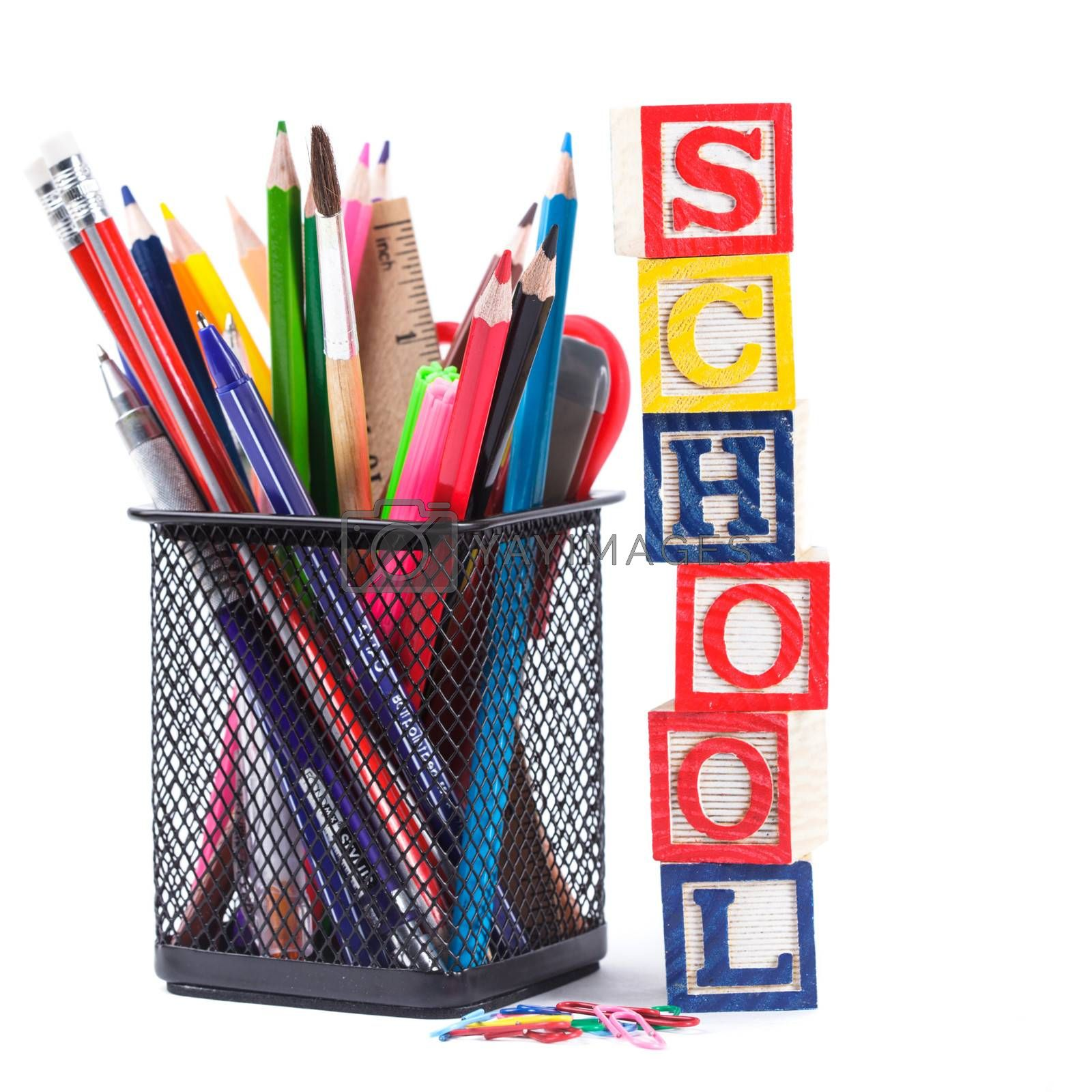 Black pencil cup with stationary for school