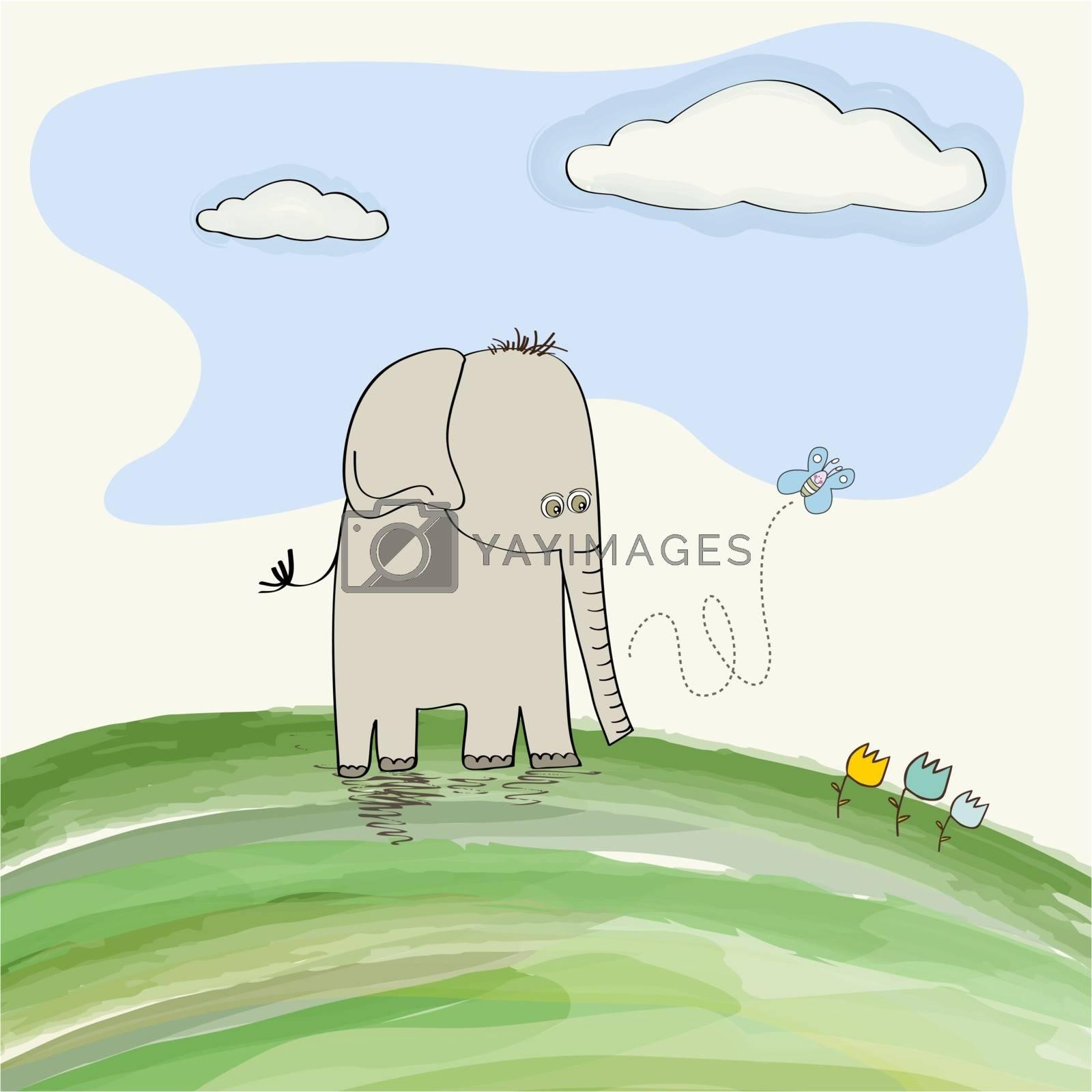 cute doodle elephant, vector illustration