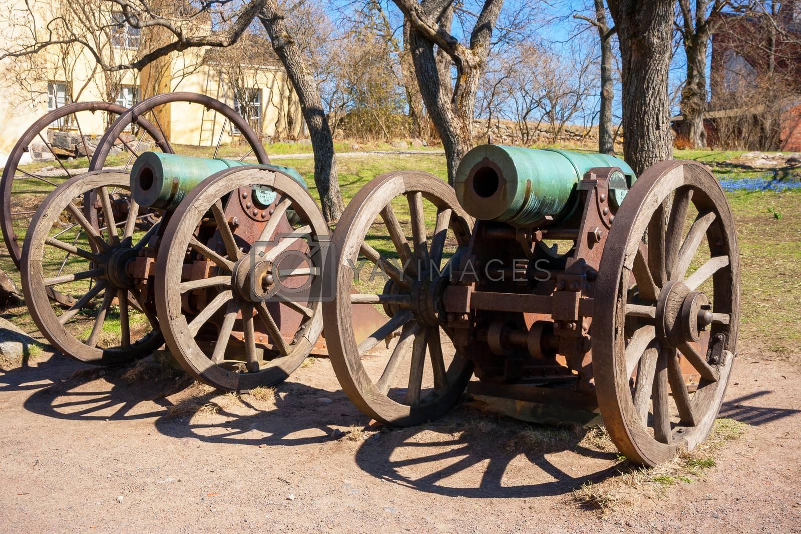 Historic cannon at Suomenlinna maritime fortress. Helsinki, Finland