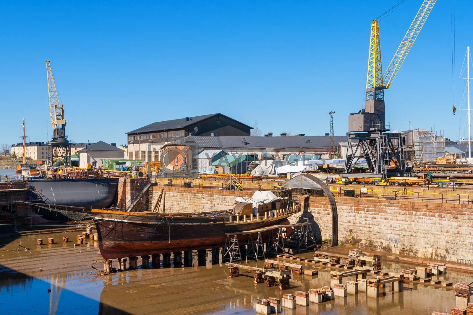 Dry dock at Suomenlinna maritime fortress. Helsinki, Finland