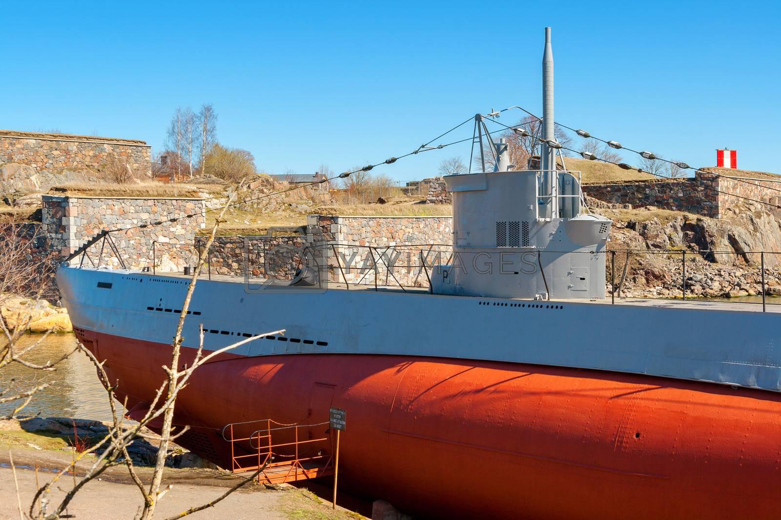 Submarine Vesikko at Suomenlinna maritime fortress. Helsinki, Finland