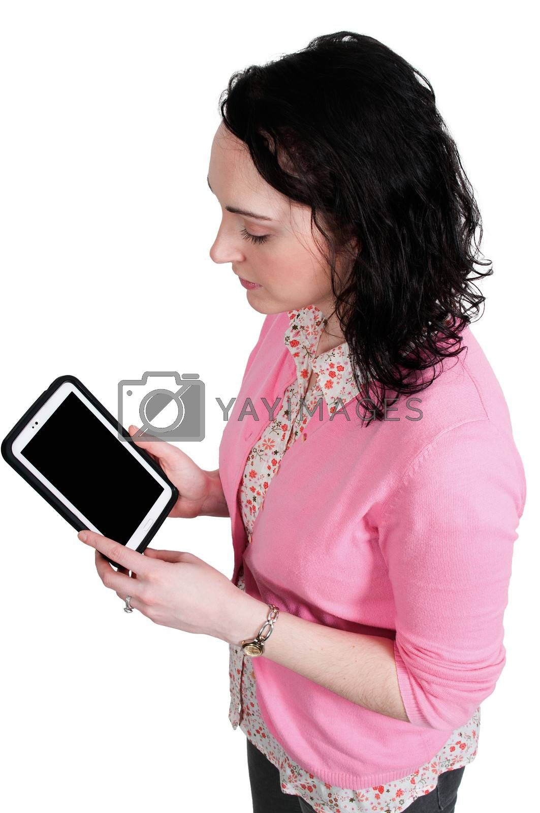 Beautiful technilogically savvy woman housewife using a tablet