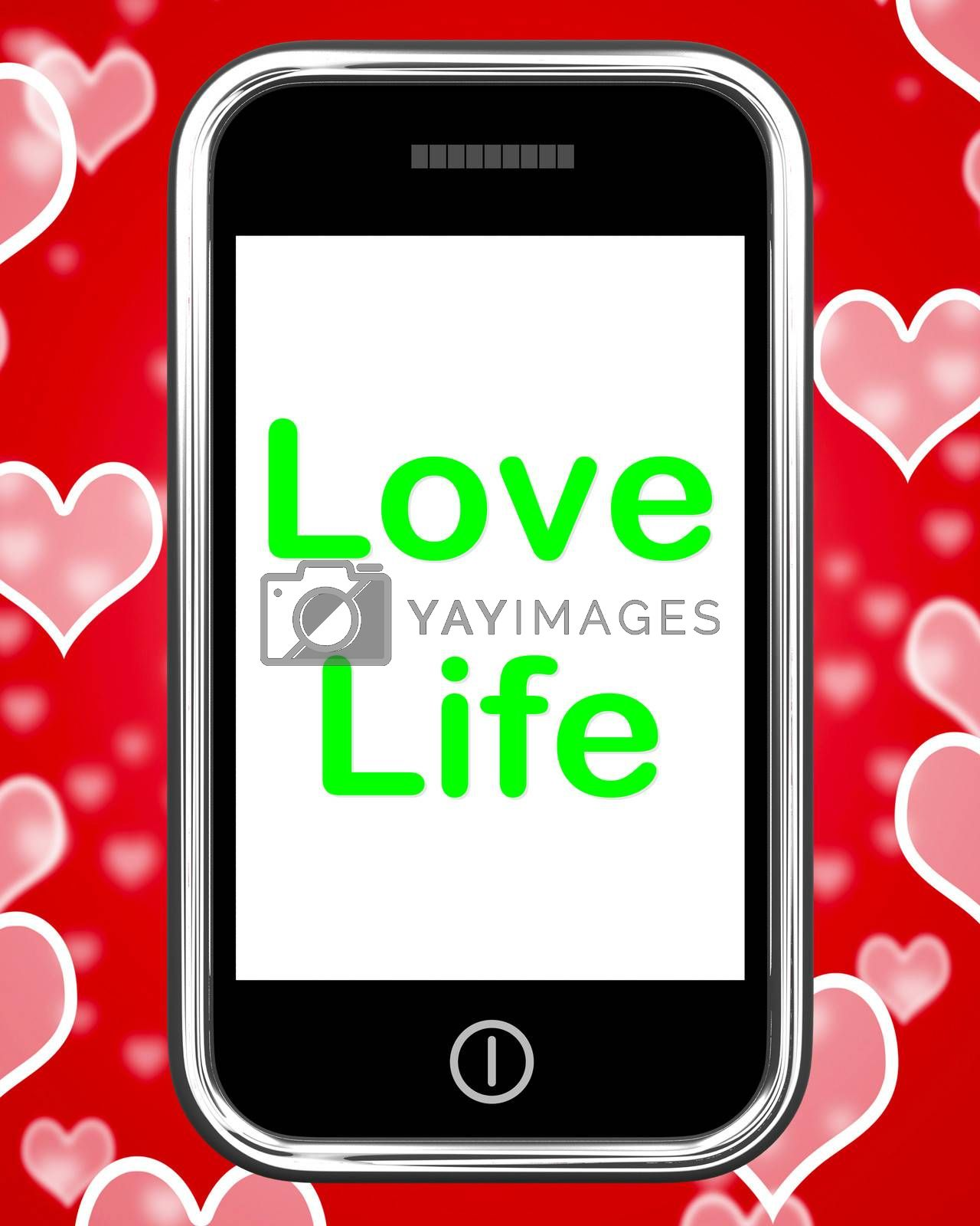 Love Life On Phone Showing Sex Romance Or Relationship