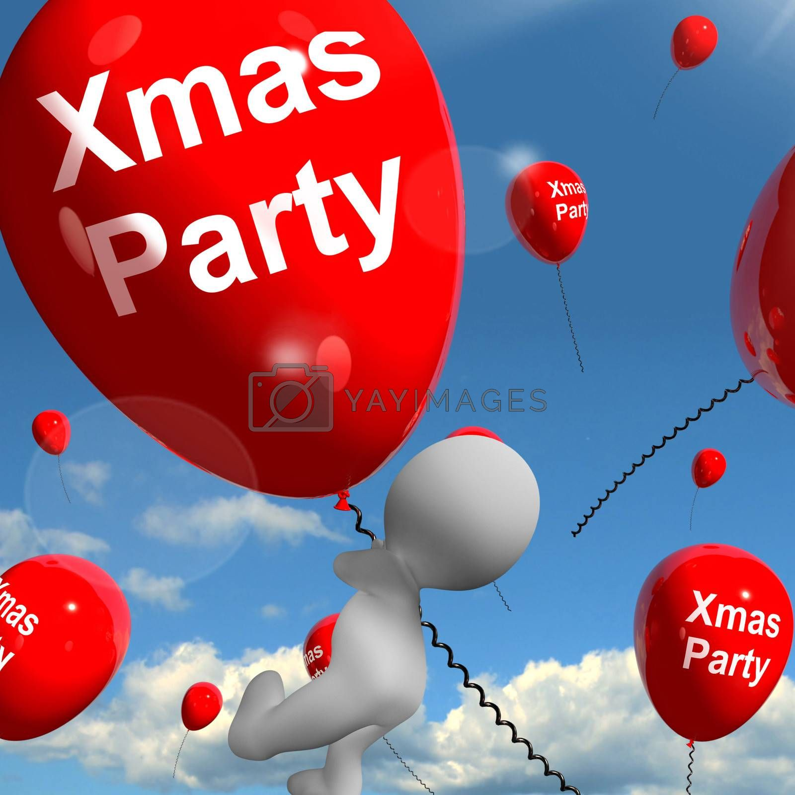 Xmas Party Balloons Showing Christmas Celebrations and Festivity
