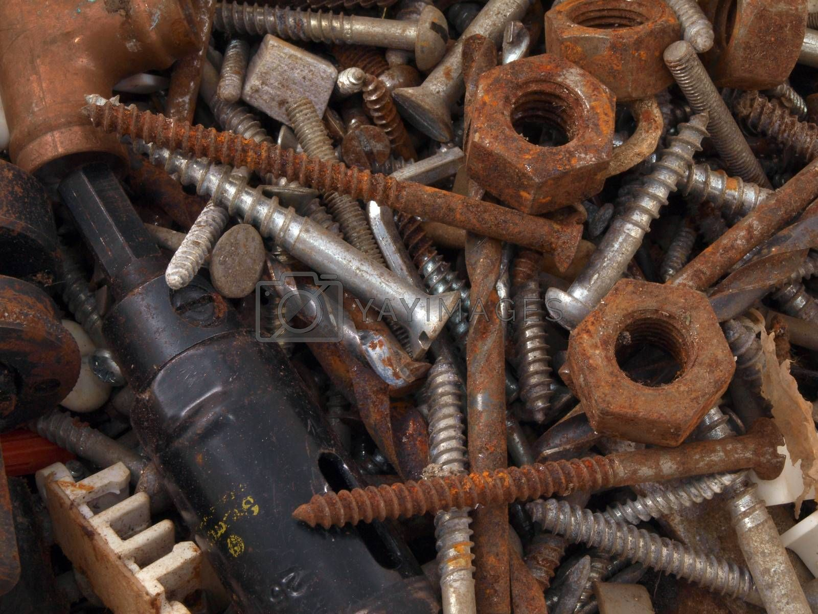 Close up of rusty nuts and bolts.