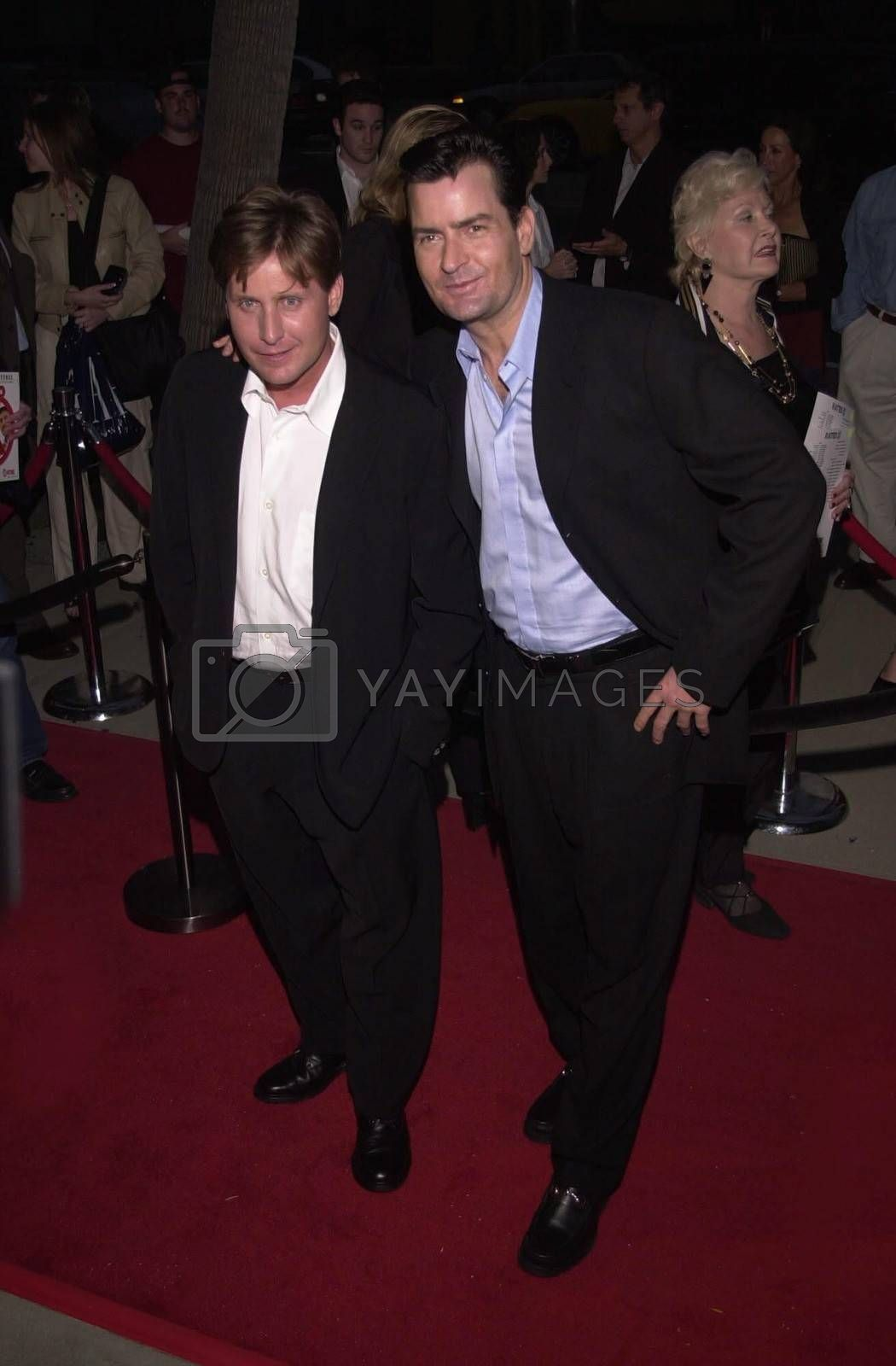"""Emilio Estevez and Charlie Sheen at the premiere of Showtime's """"RATED X"""" in Hollywood, 04-27-00"""