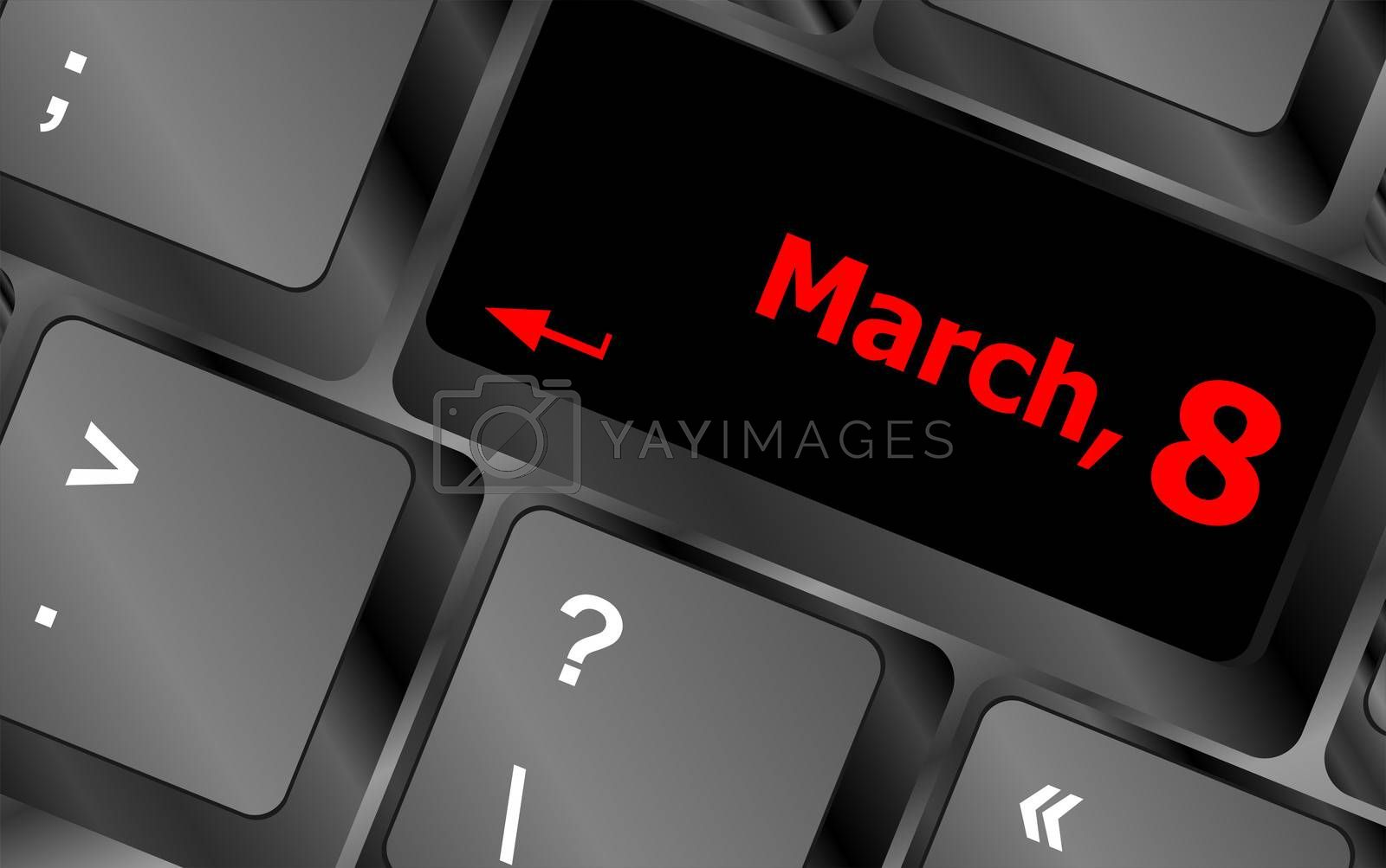 Computer keyboard key - March, 8