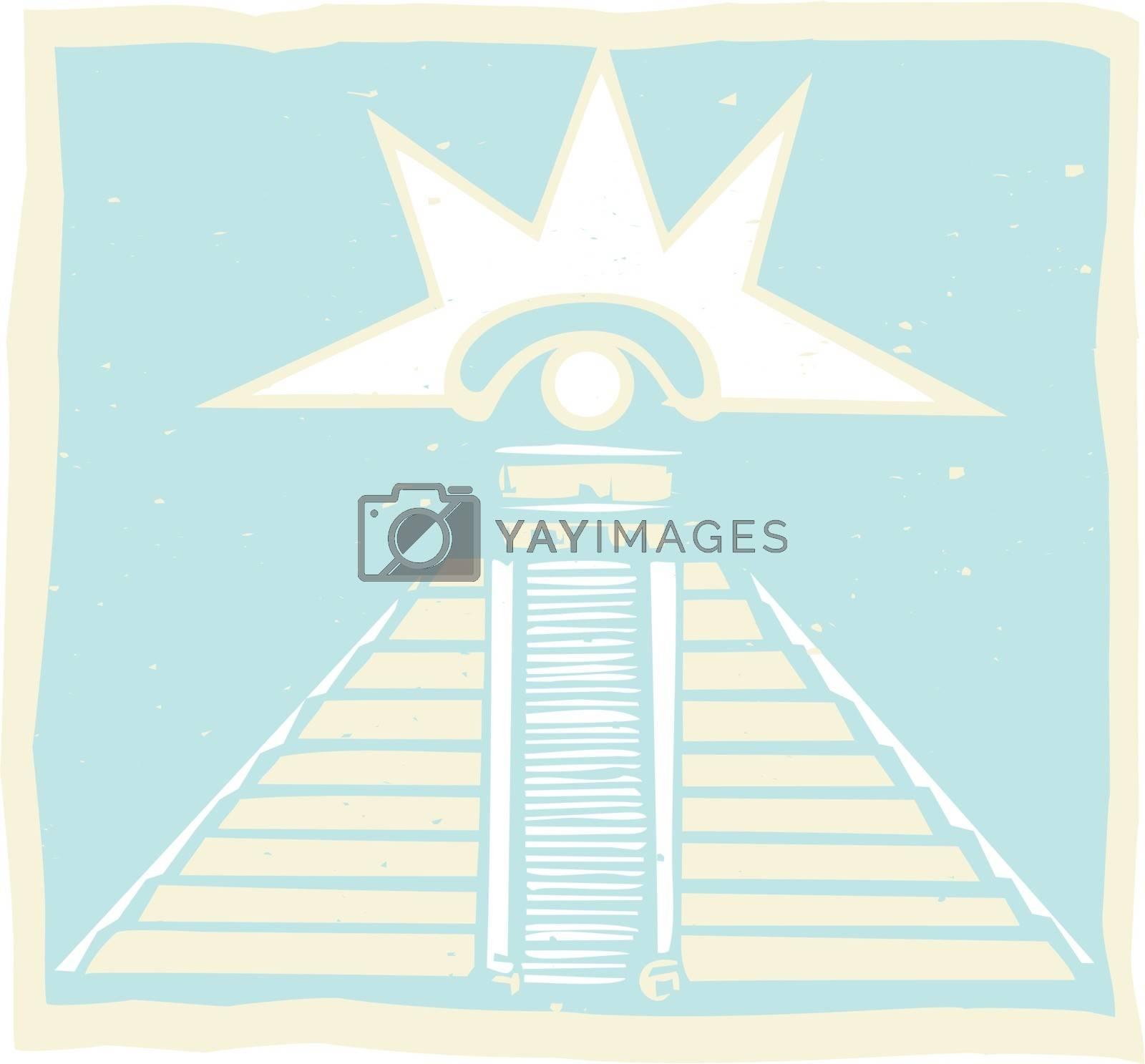 Mayan Pyramid with Venus glyph symbol