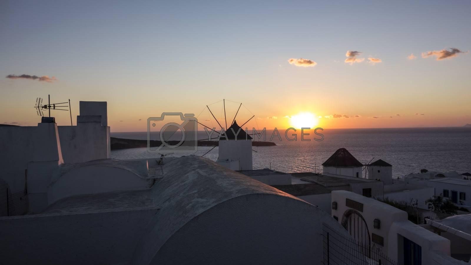 Beautiful sunset in Oia, Santorini,. Greece