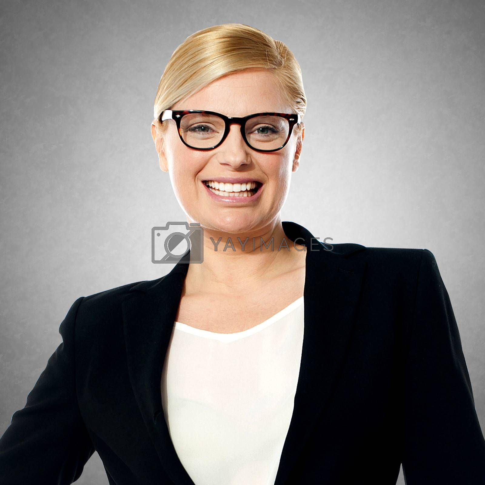 Young beautiful smiling corporate woman