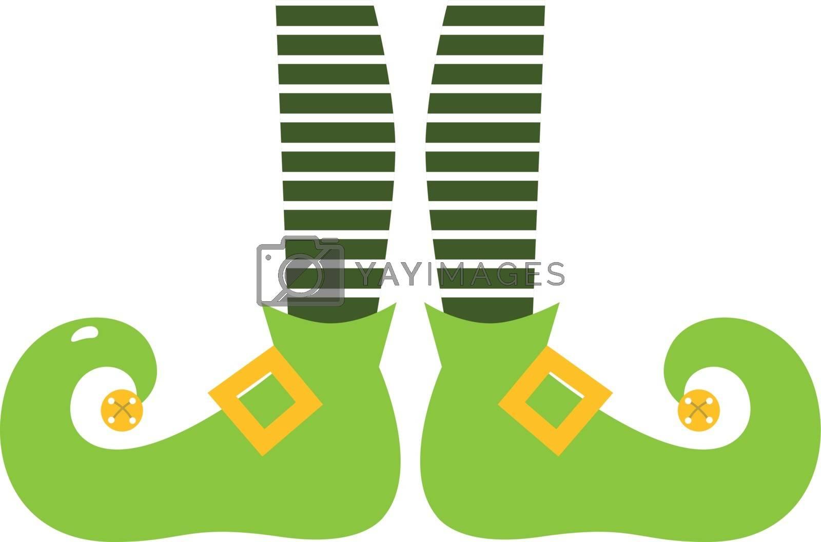 Retro elvish green legs with stripes. Vector