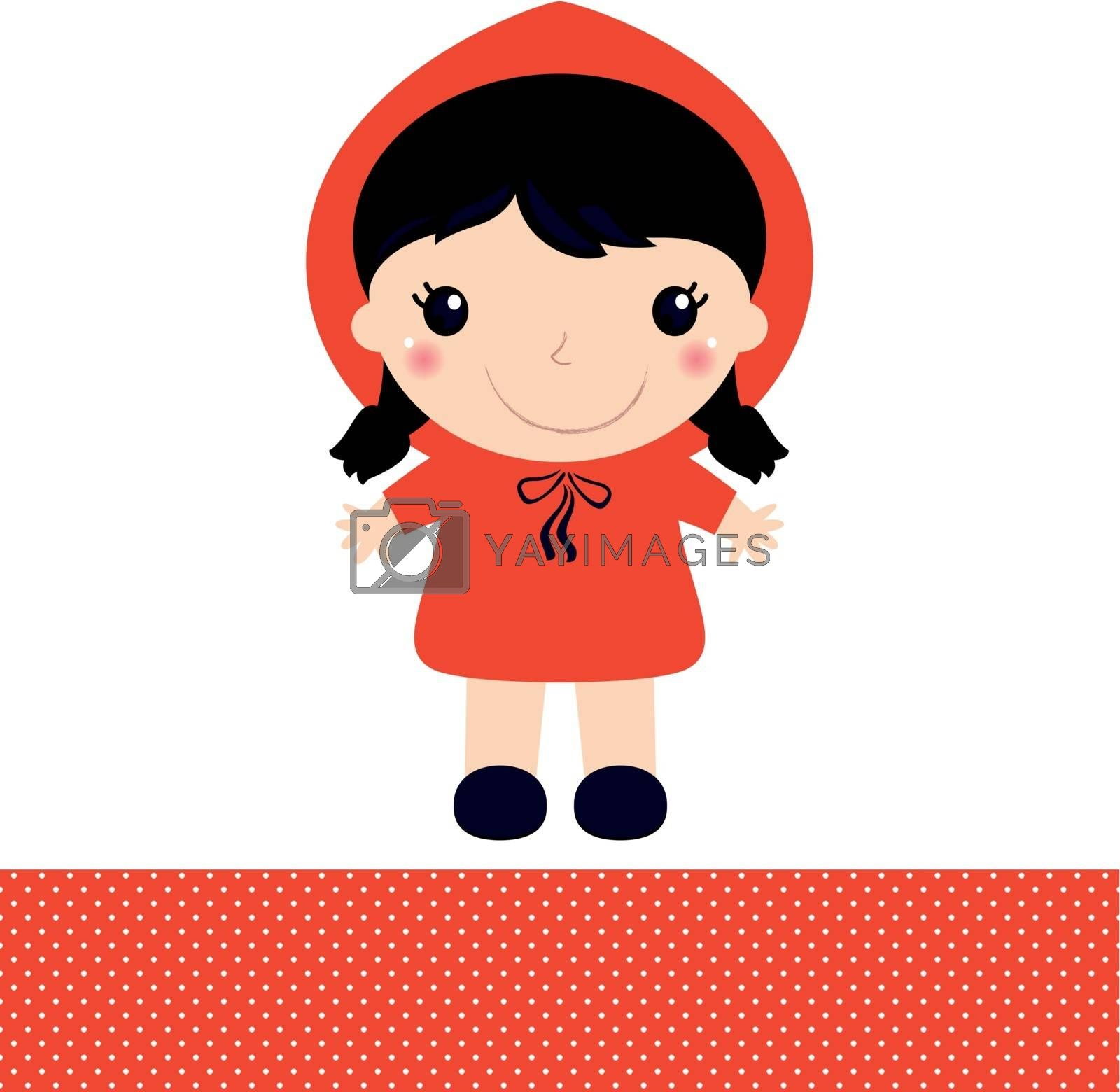Red Riding Hood in Kawaii style. Vector Illustration