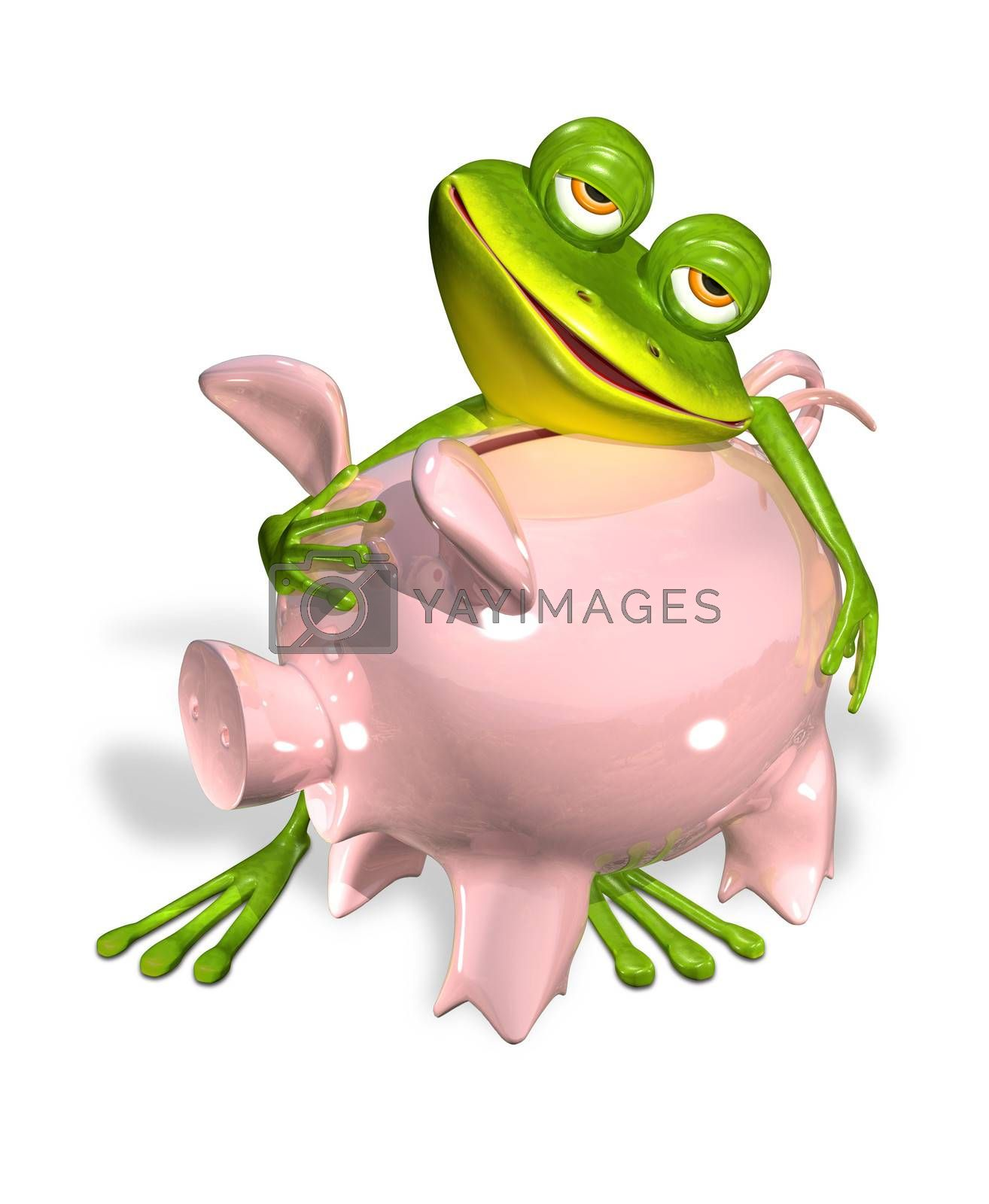 3d illustration merry green frog with piggy bank