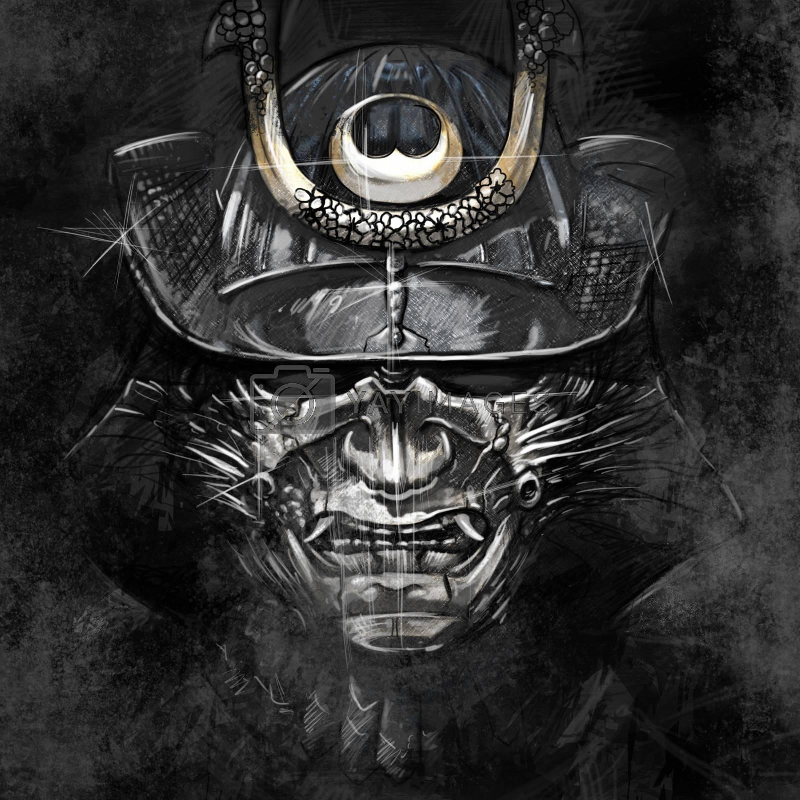 illustrations from a Japanese samurai warrior mask