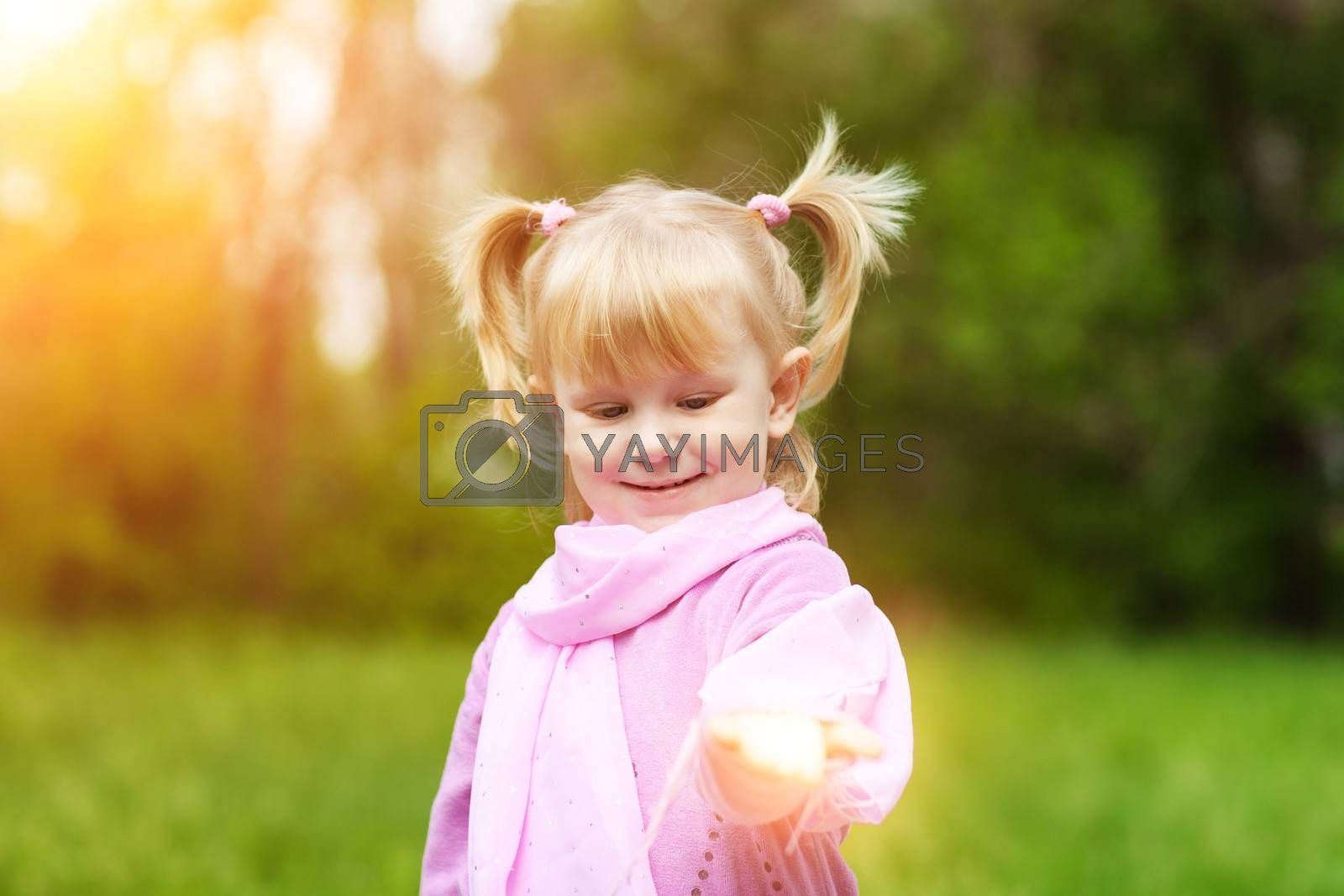 girl with small light in hand