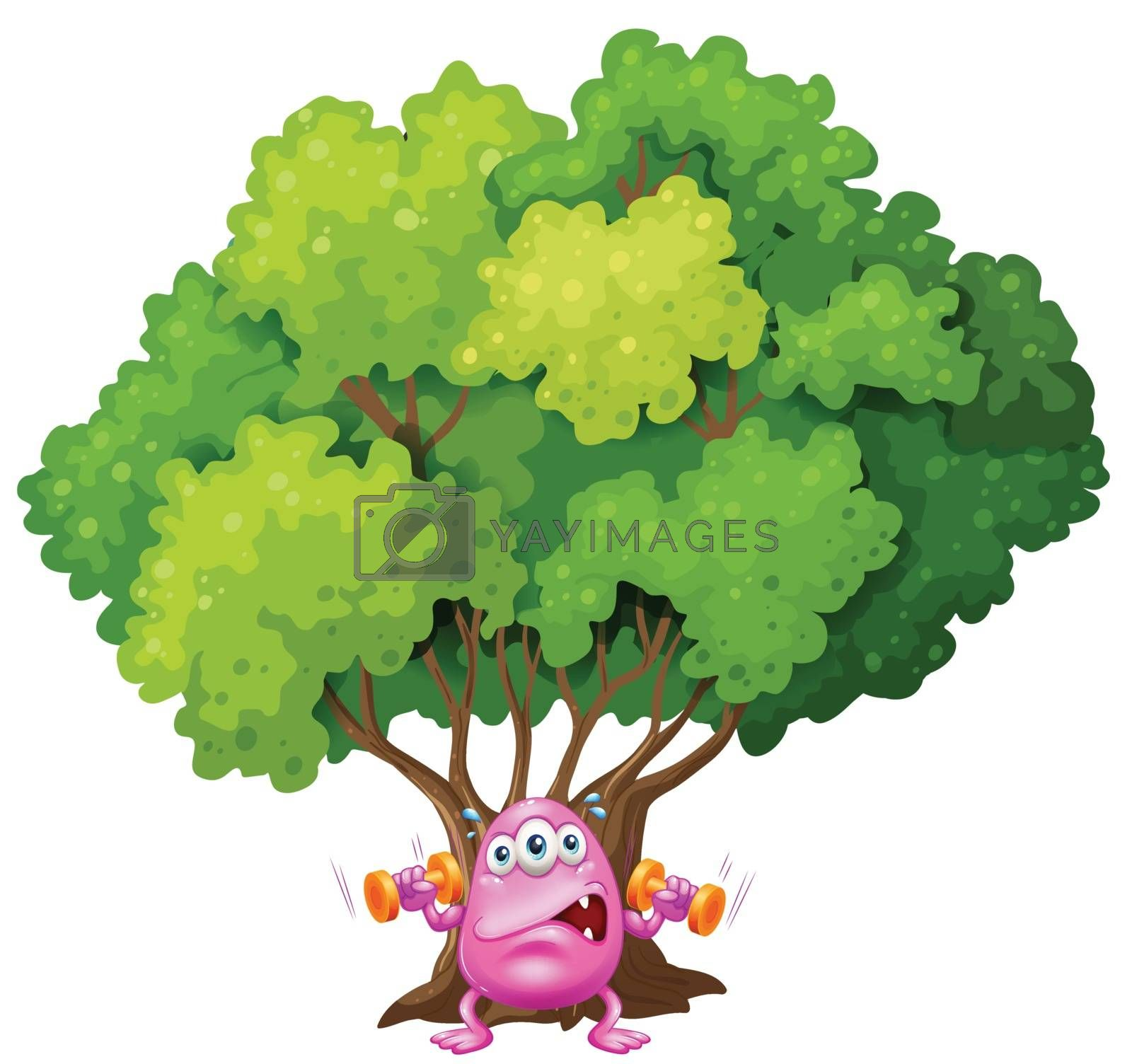 Illustration of a pink monster exercising under the tree on a white background