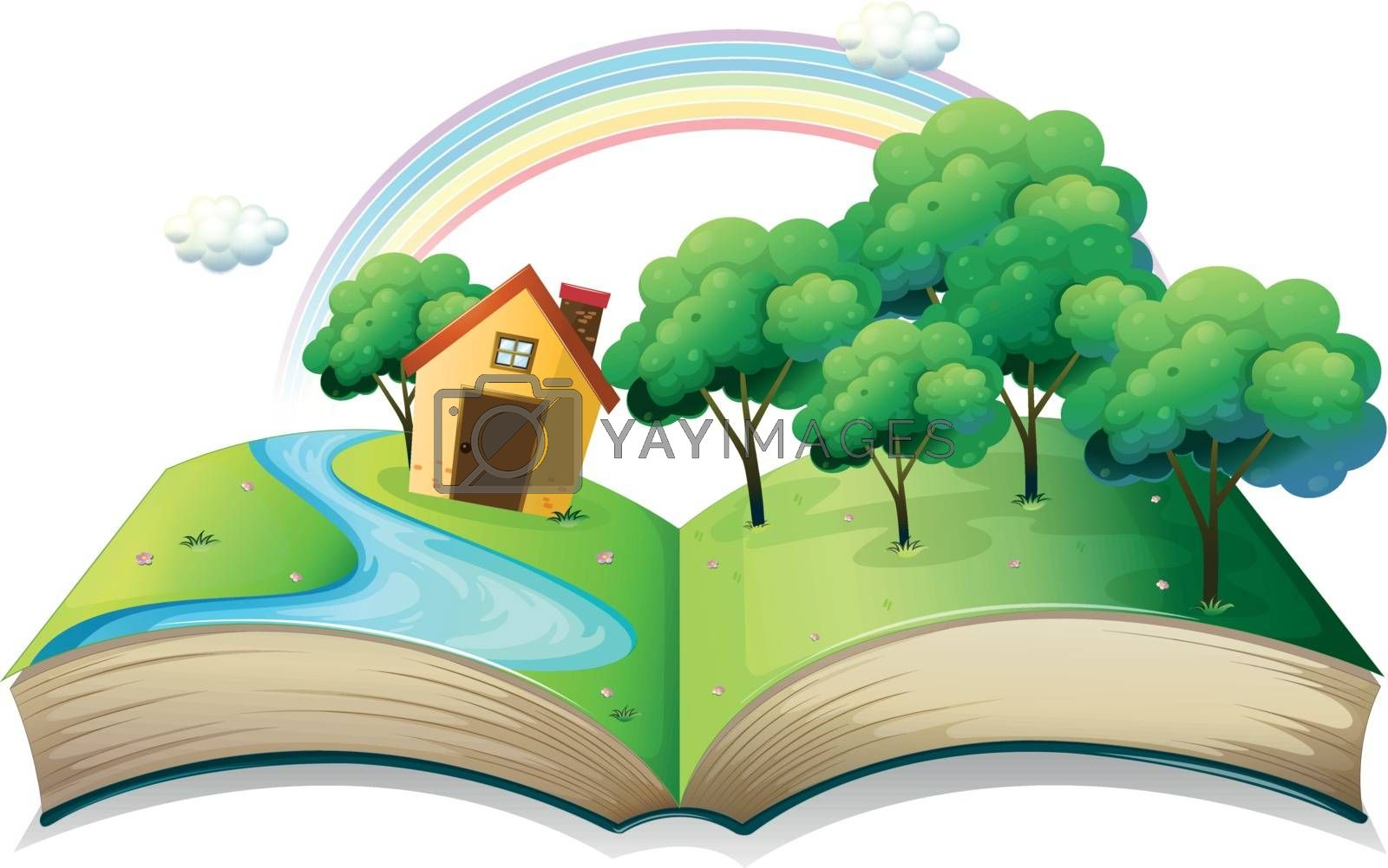 Illustration of a book with a story of a house at the forest on a white background
