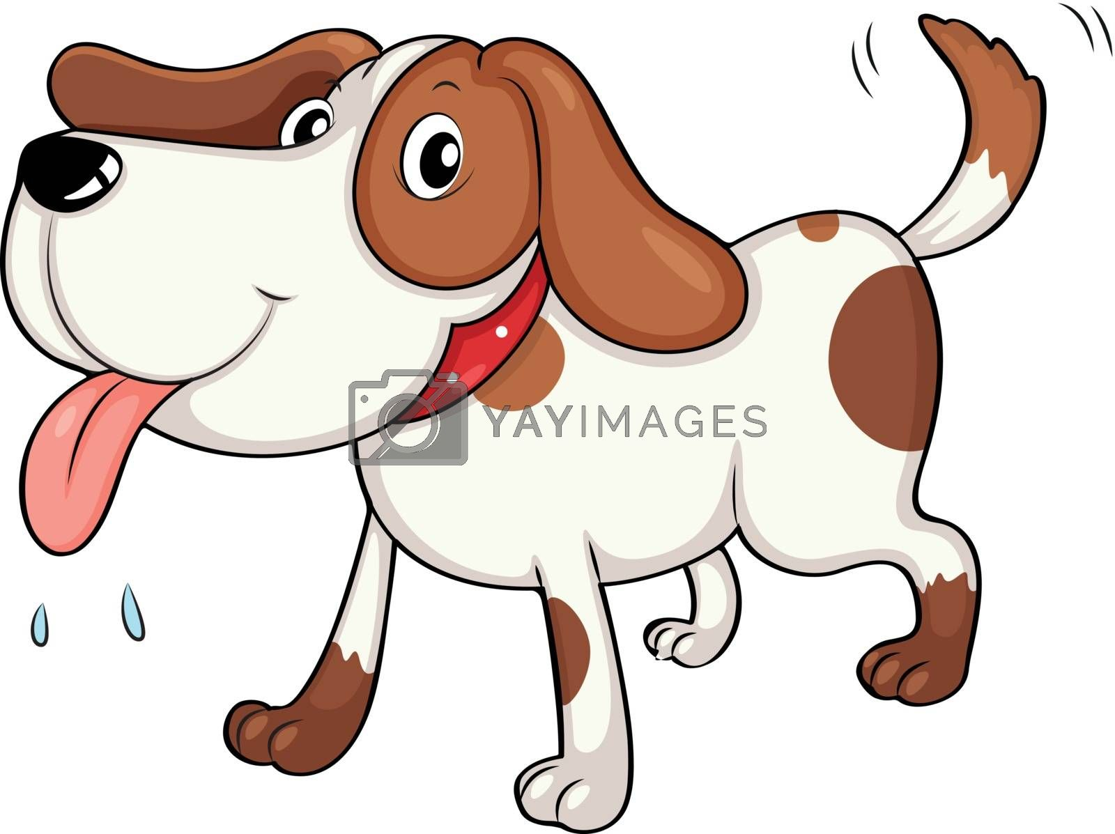 Illustration of a tired young dog on a white background