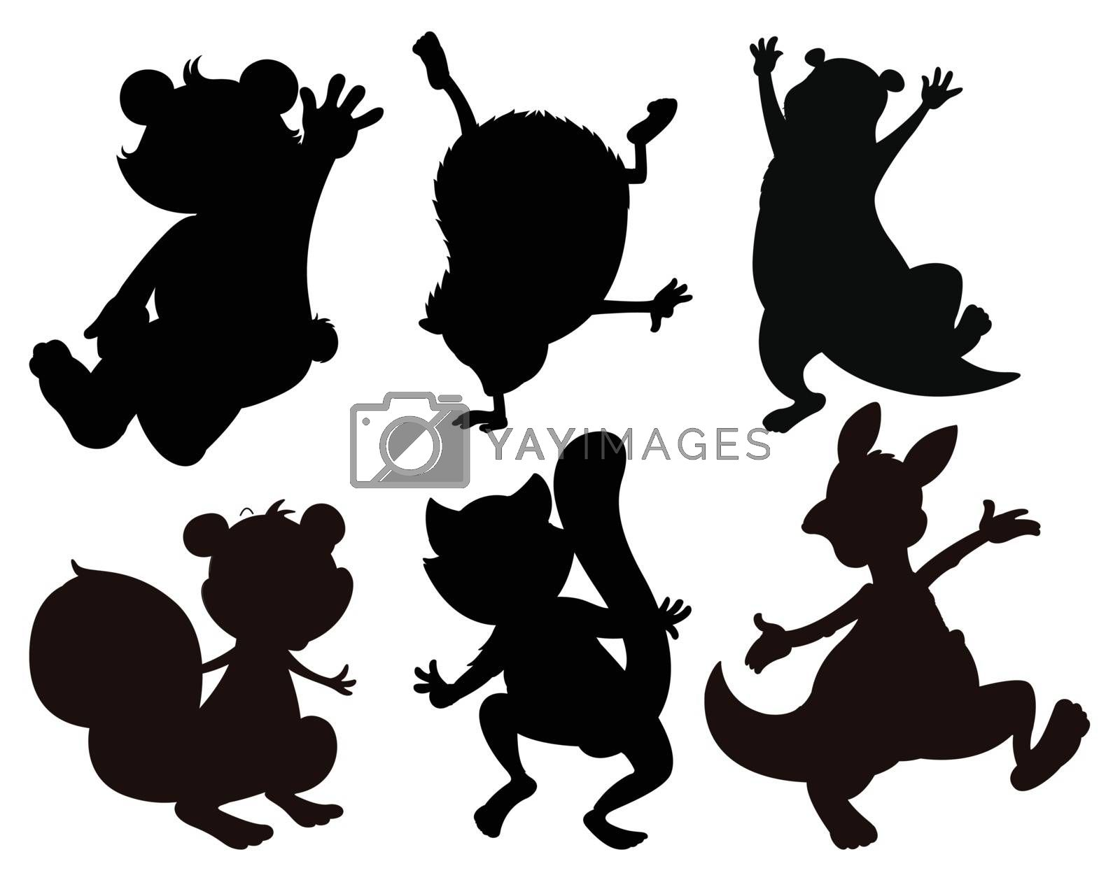 Illustration of the shaded drawings of animals on a white background