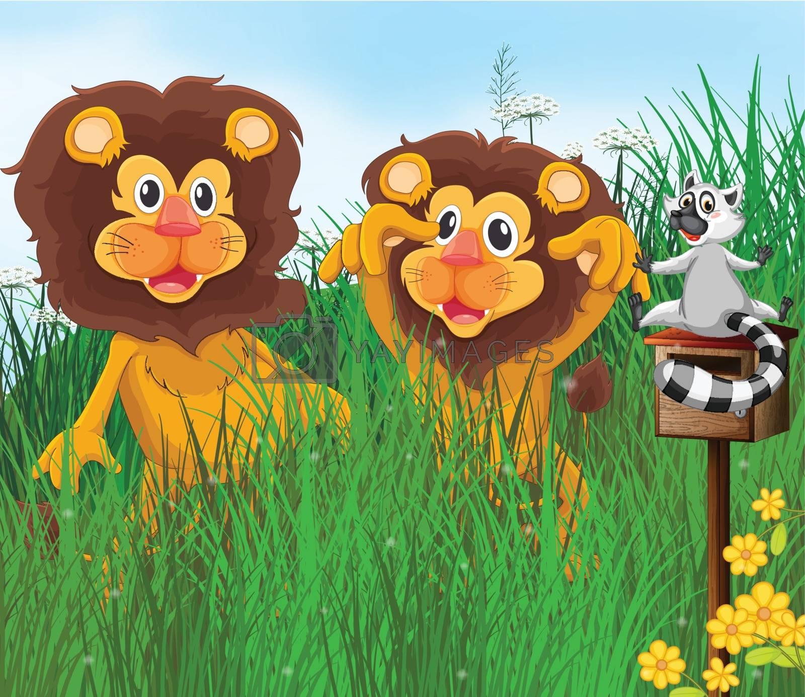 Illustration of three animals in the grass