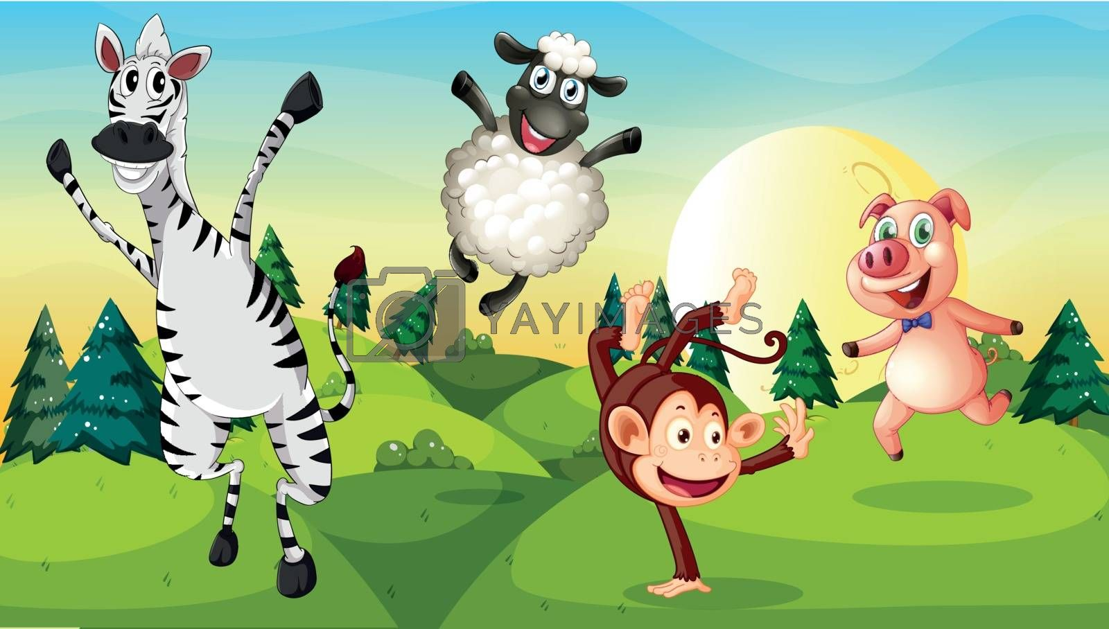 Illustration of a hilltop with playful animals
