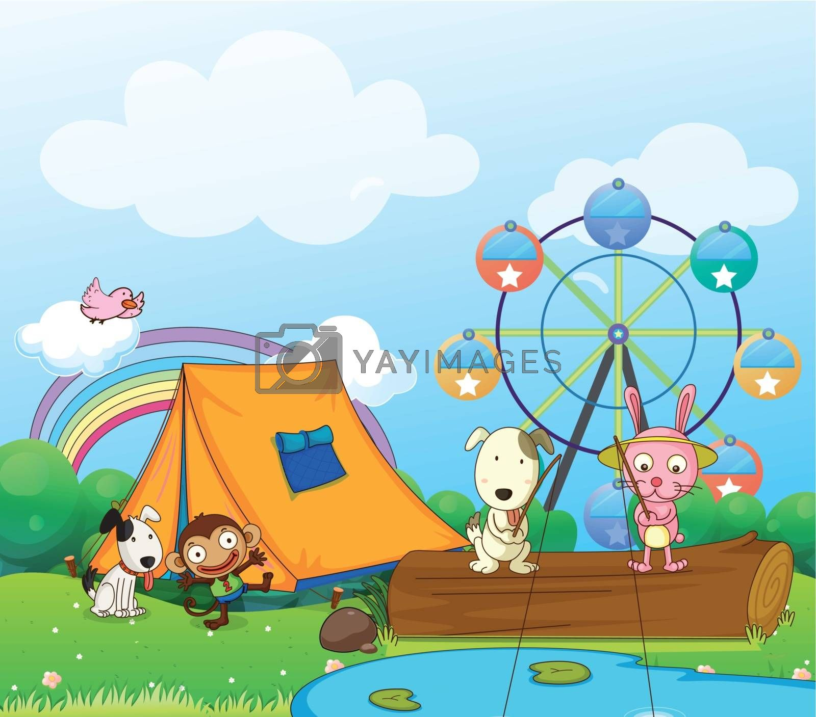 Illustration of the animals near the ferris wheel