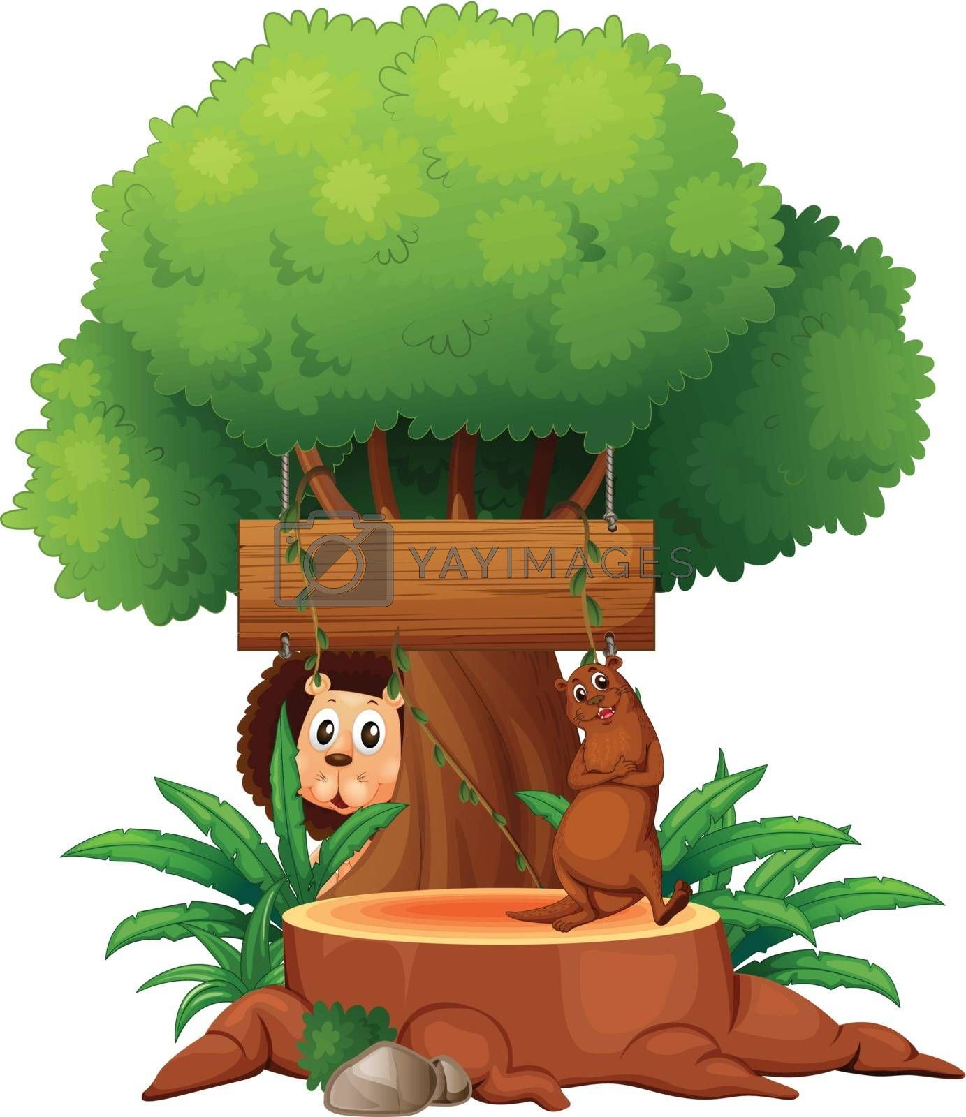 Illustration of a tree with animals and an empty signboard on a white background