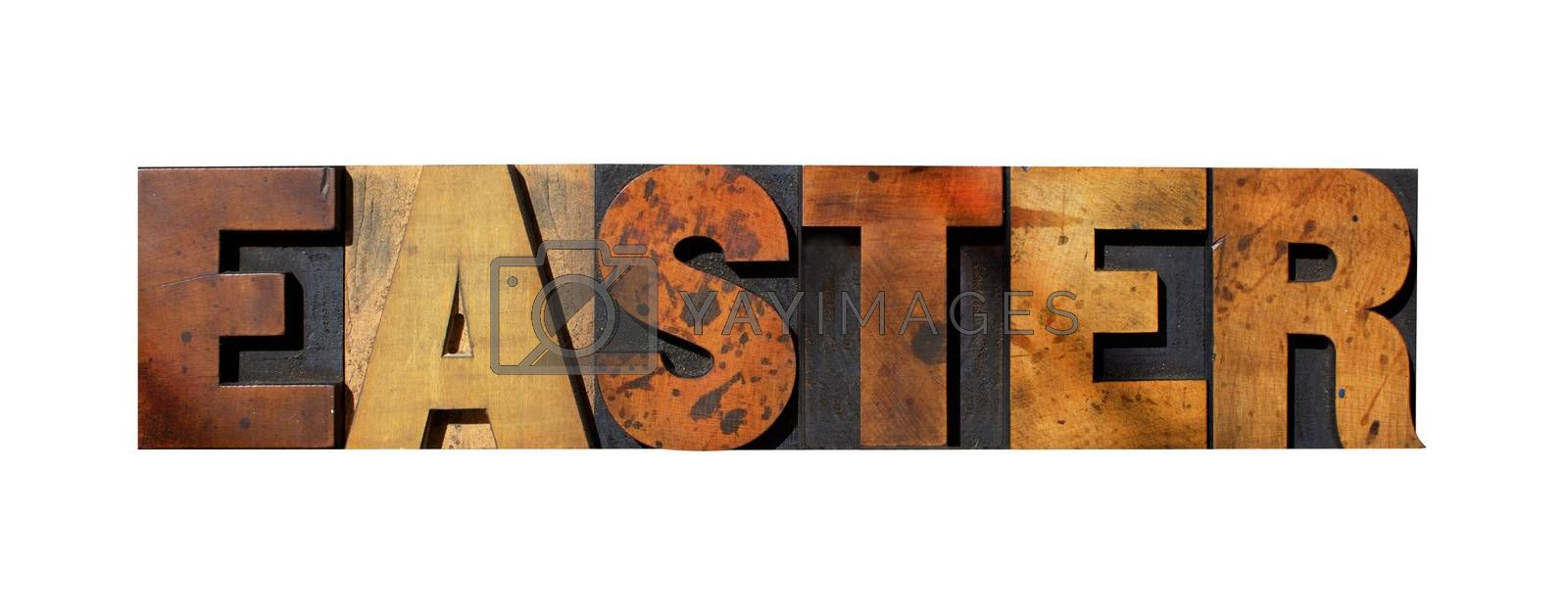 The word EASTER isolated on white and written in vintage letterpress type