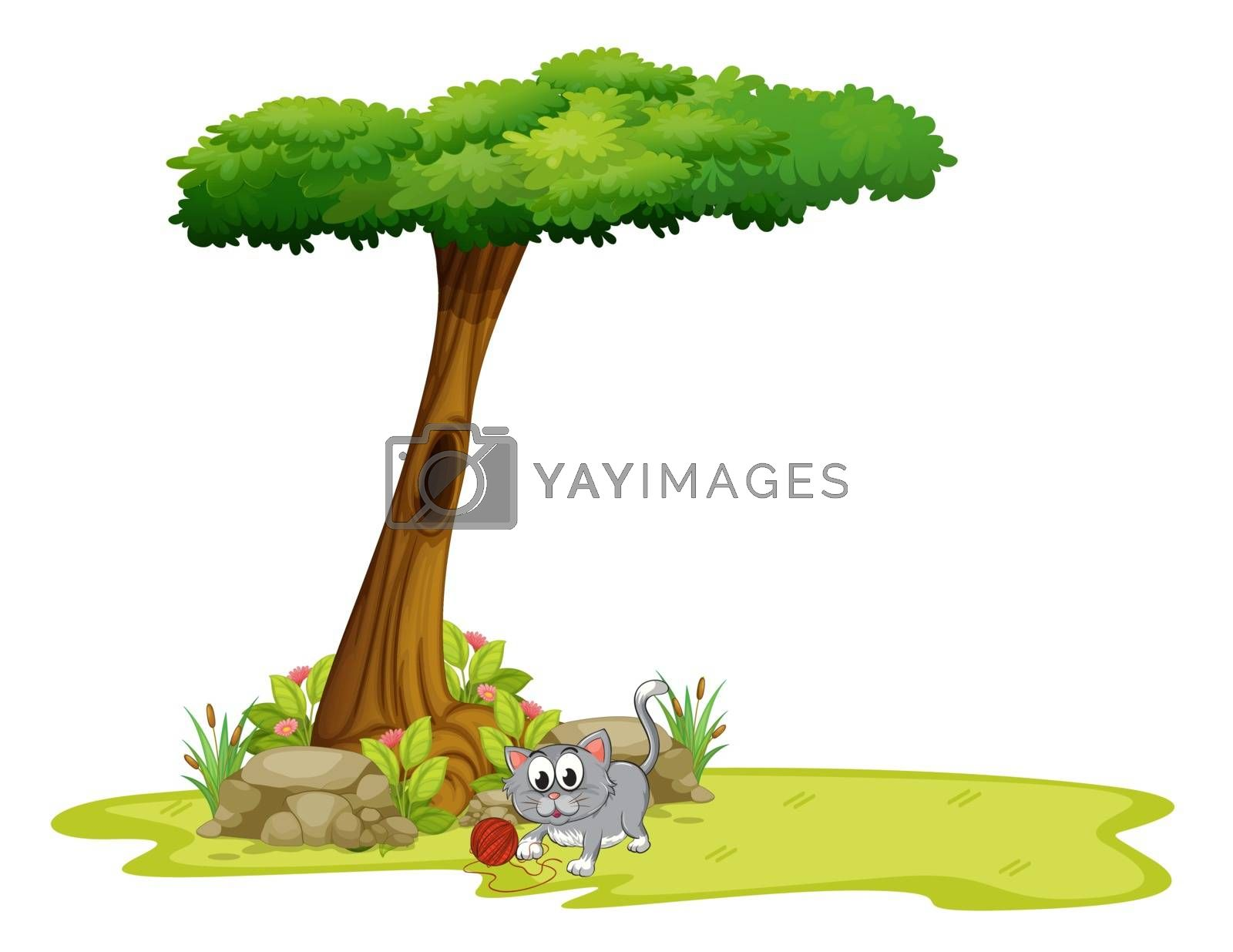 Illustration of a gray cat under a tree with a hole on a white background