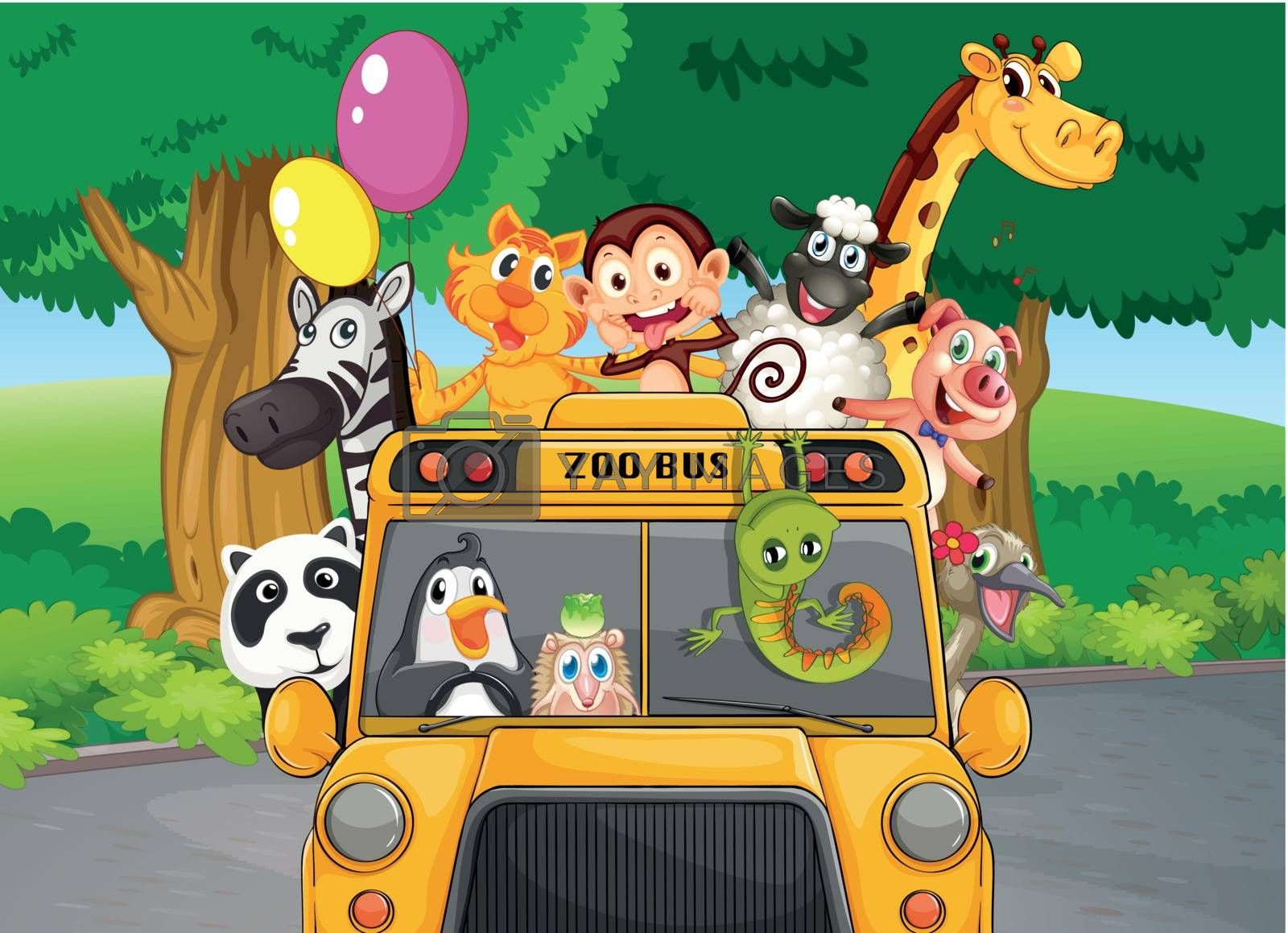 Illustration of a zoo bus with animals