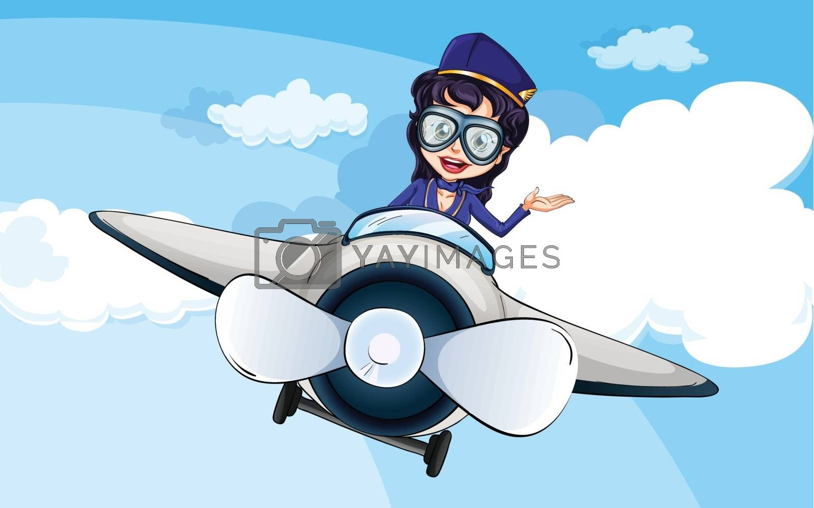 Illustration of a hostess on a plane