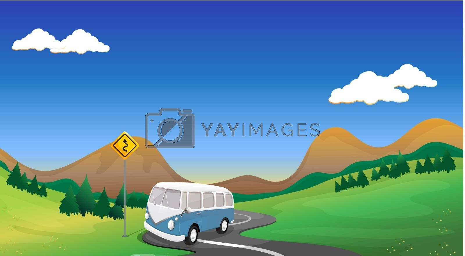 Illustration of a curve road with a bus