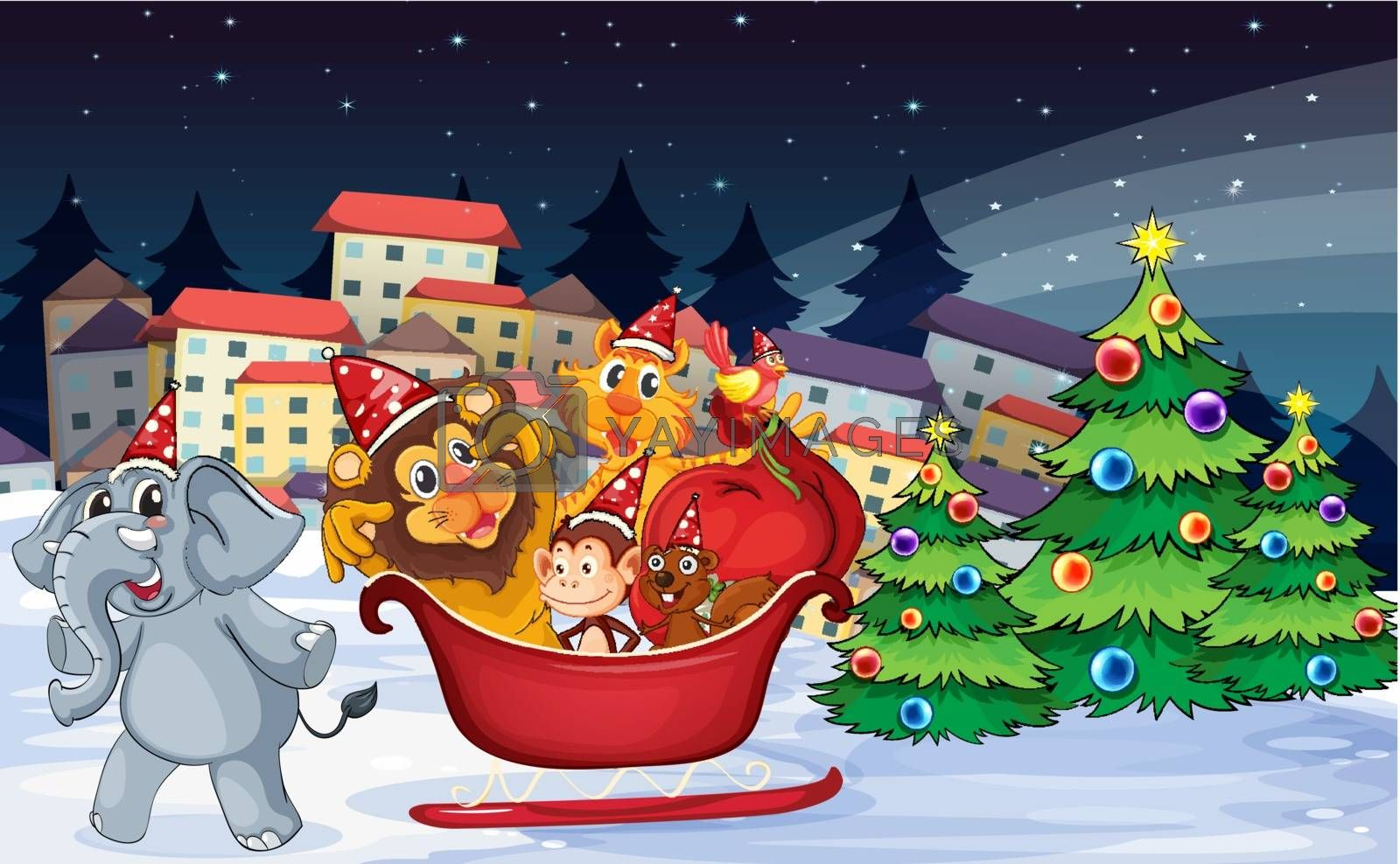 Illustration of a village with playful animals near the christmas trees