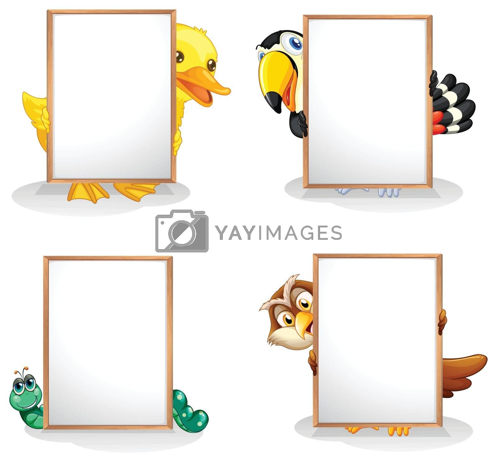 Illustration of the animals hiding at the back of the whiteboards on a white background