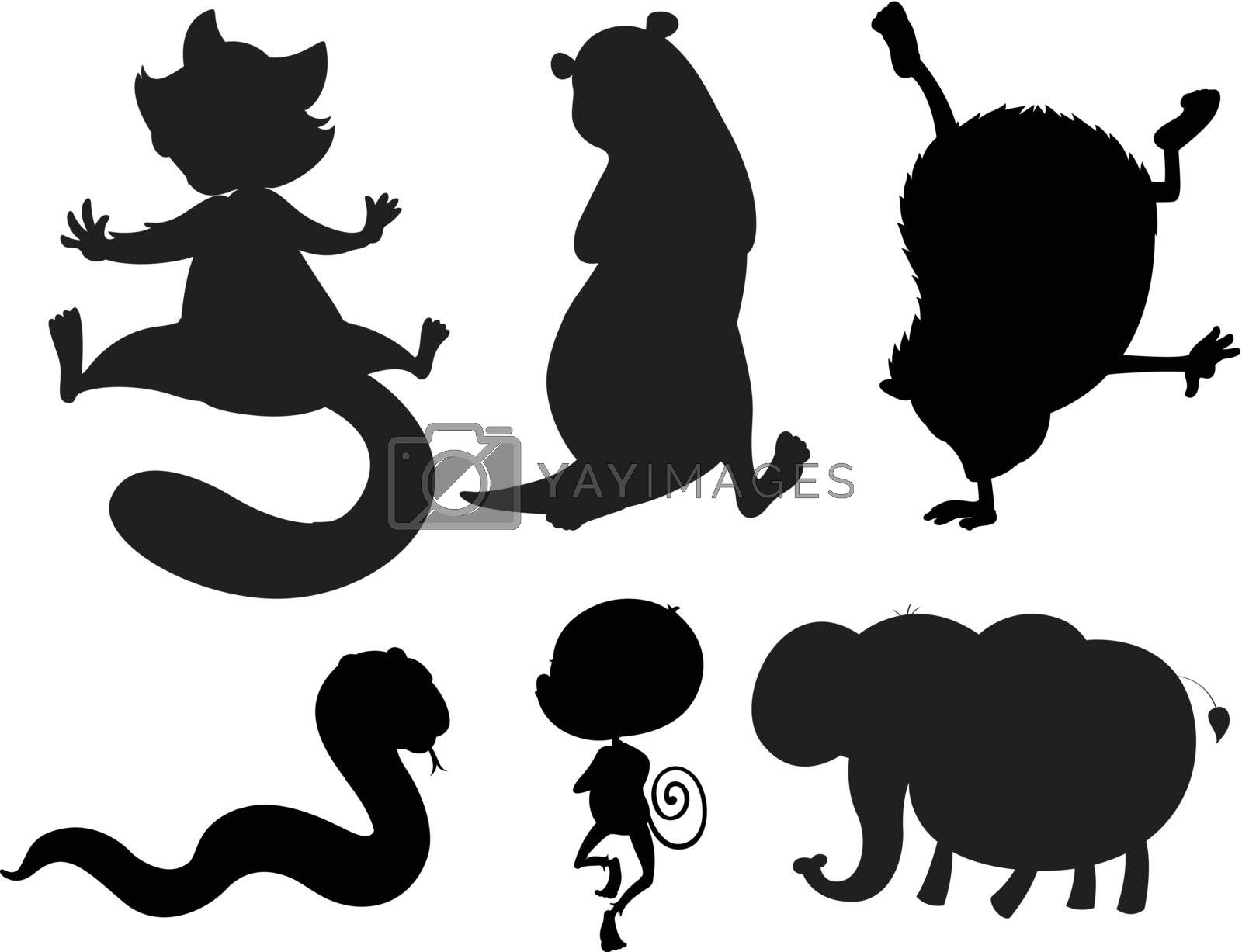 Illustration of the animals in black and gray colors on a white background