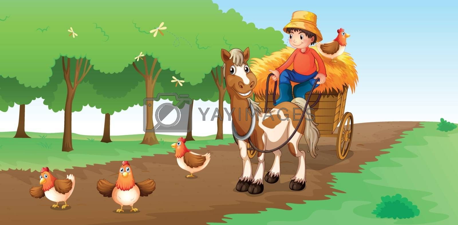 Illustration of a farmer with animals