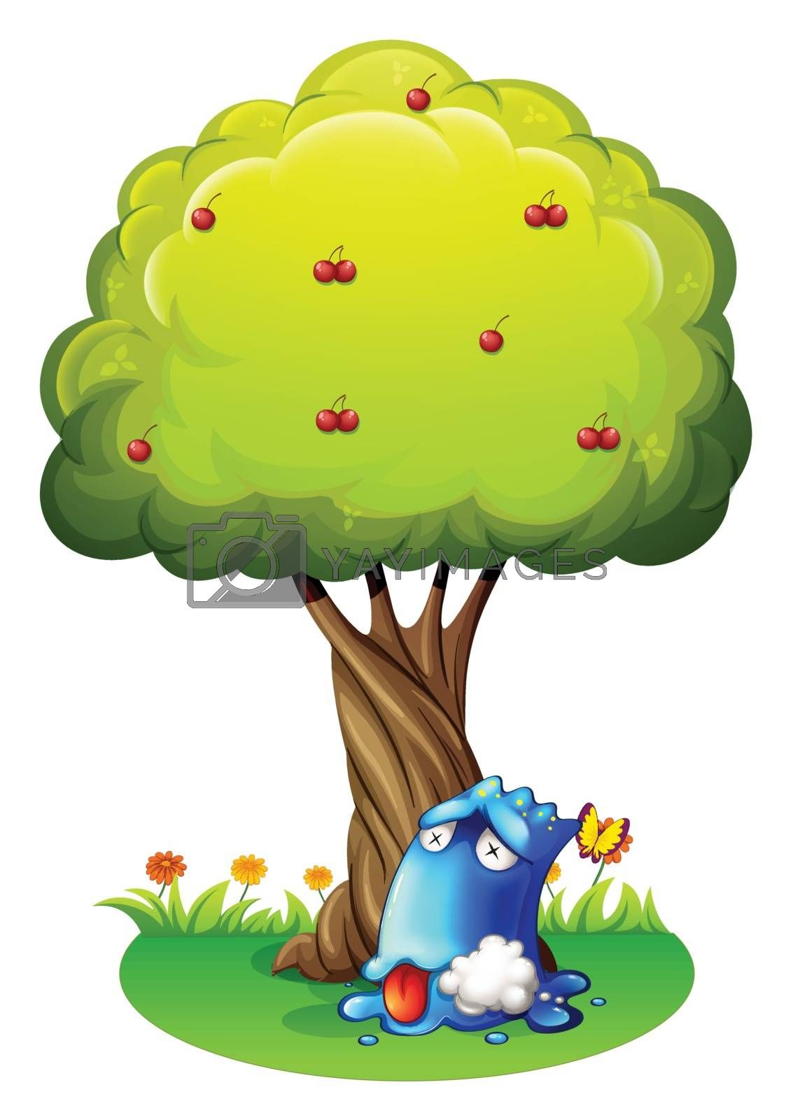 Illustration of a poisoned blue monster under the tree on a white background