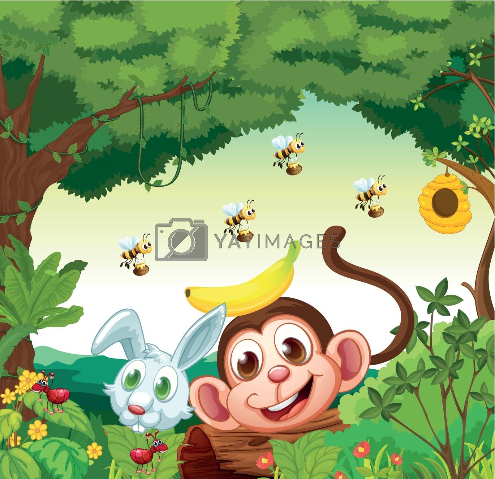 Illustration of a forest with happy animals