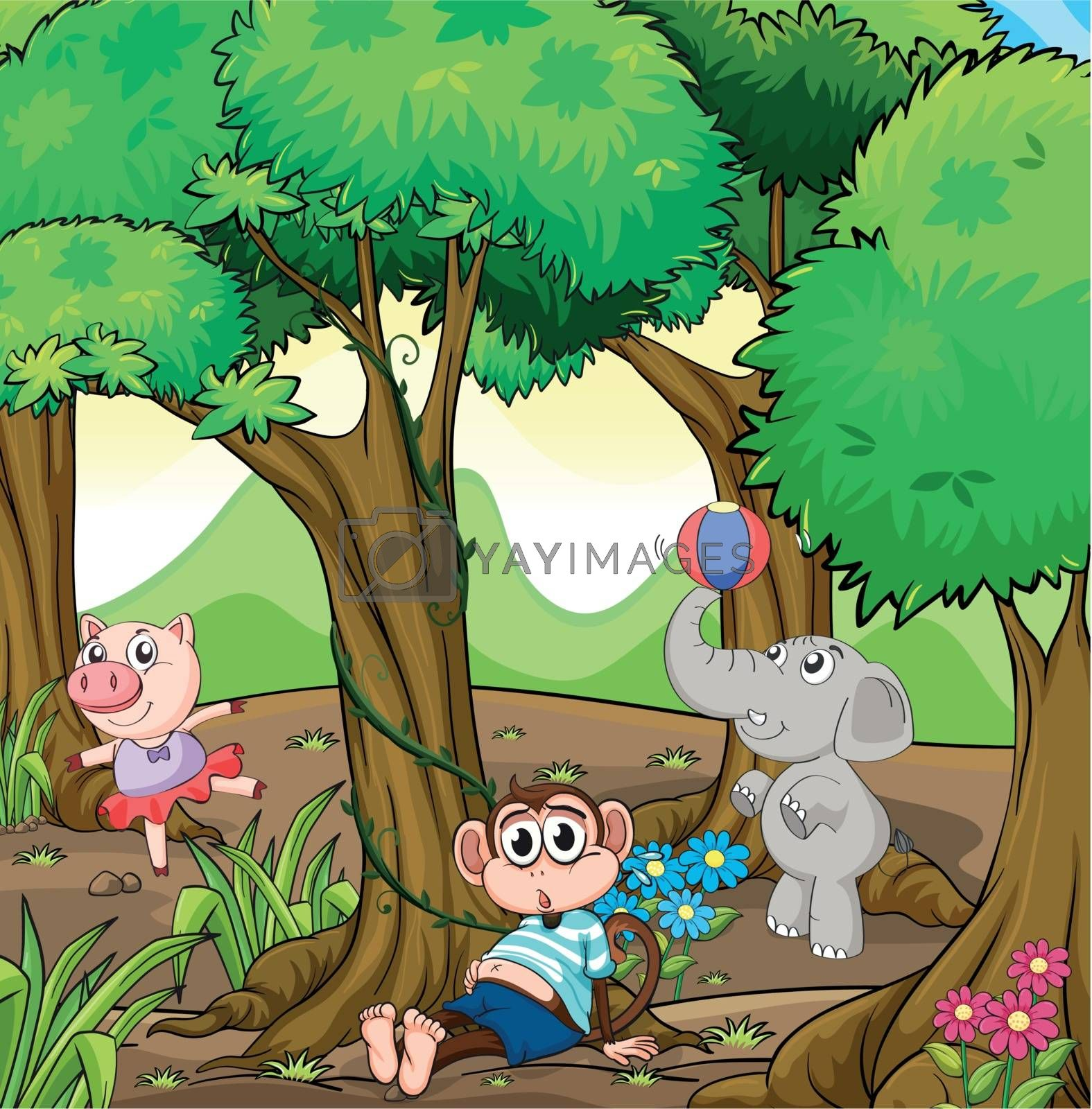 Illustration of the three different kinds of animals playing at the forest